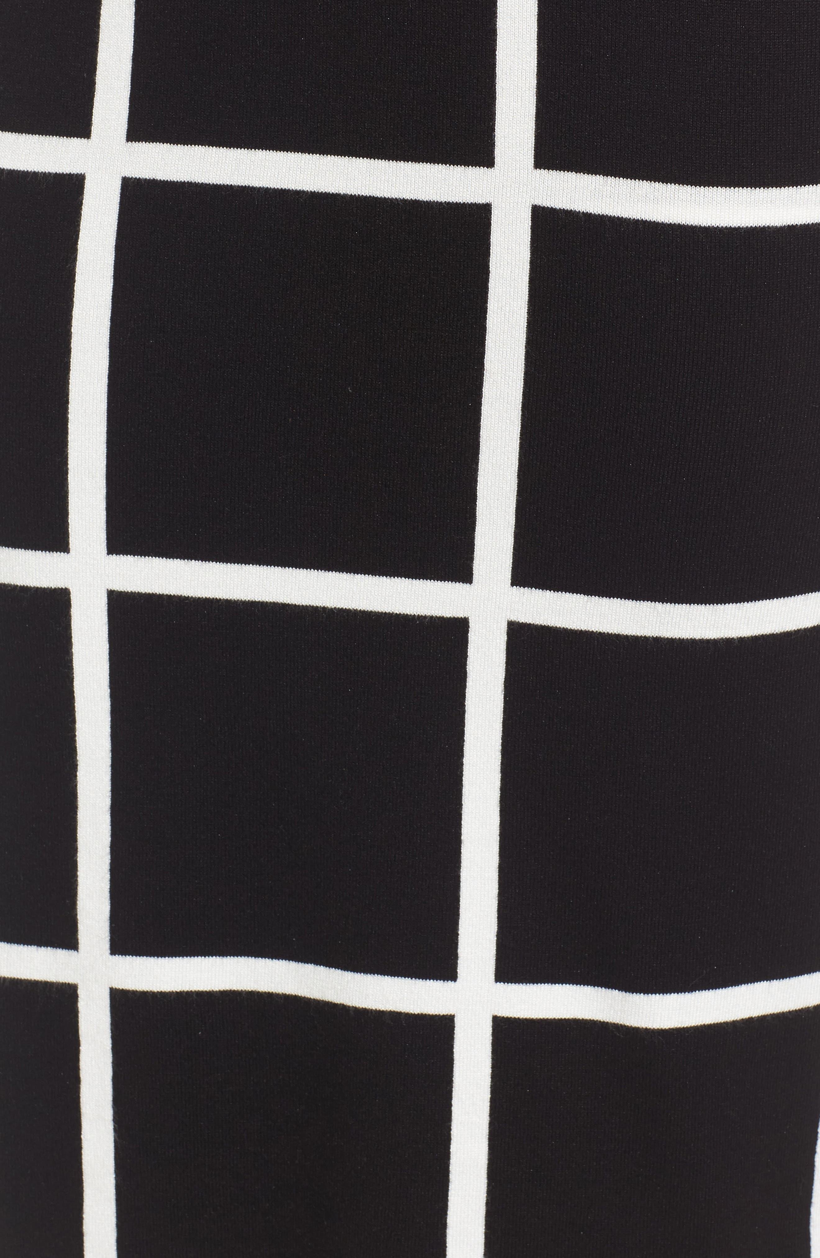 VINCE CAMUTO, Windowpane Sweater Knit Skirt, Alternate thumbnail 5, color, 006