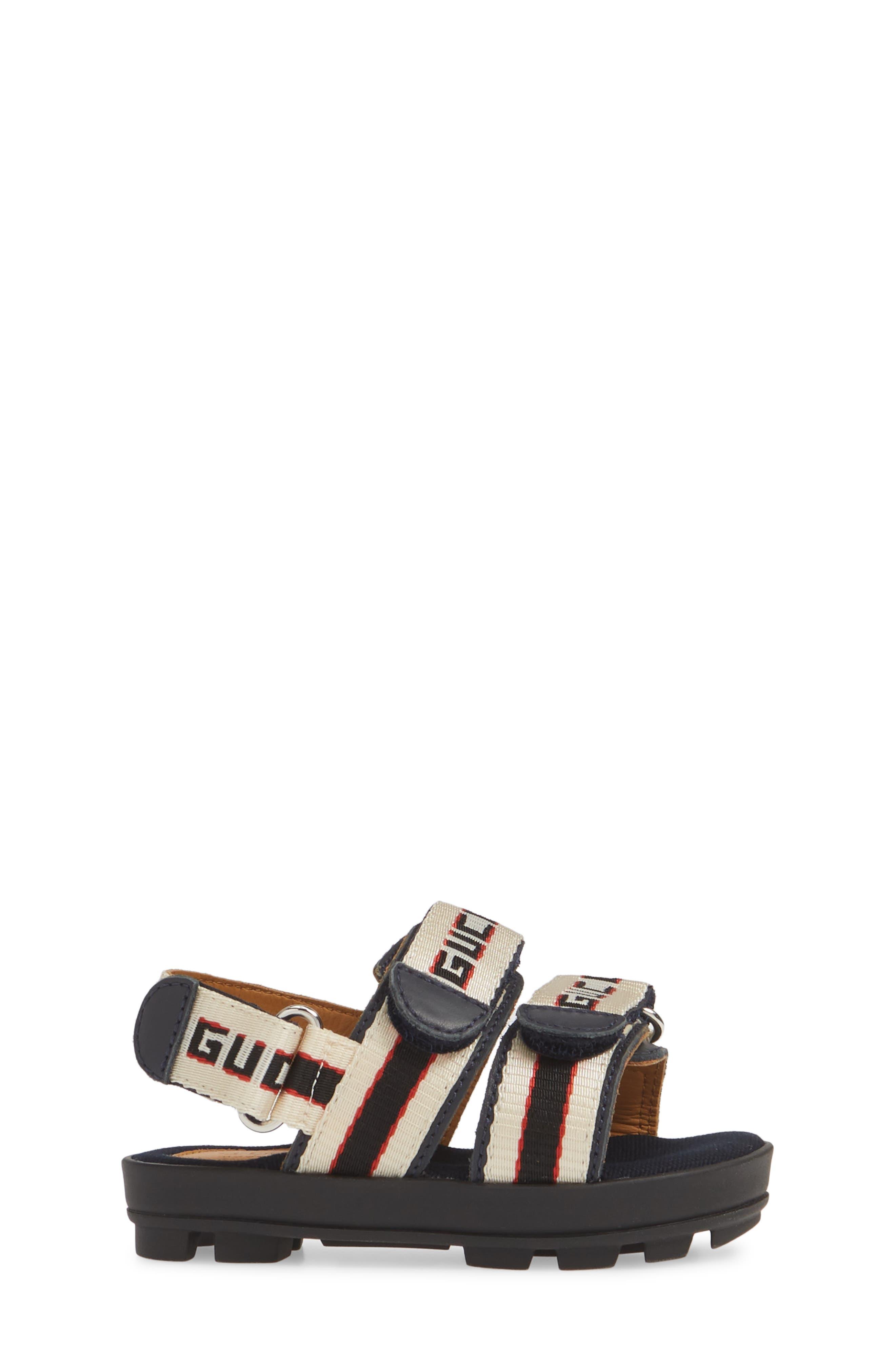 GUCCI, Sam Logo Strap Slingback Sandal, Alternate thumbnail 3, color, BLUE