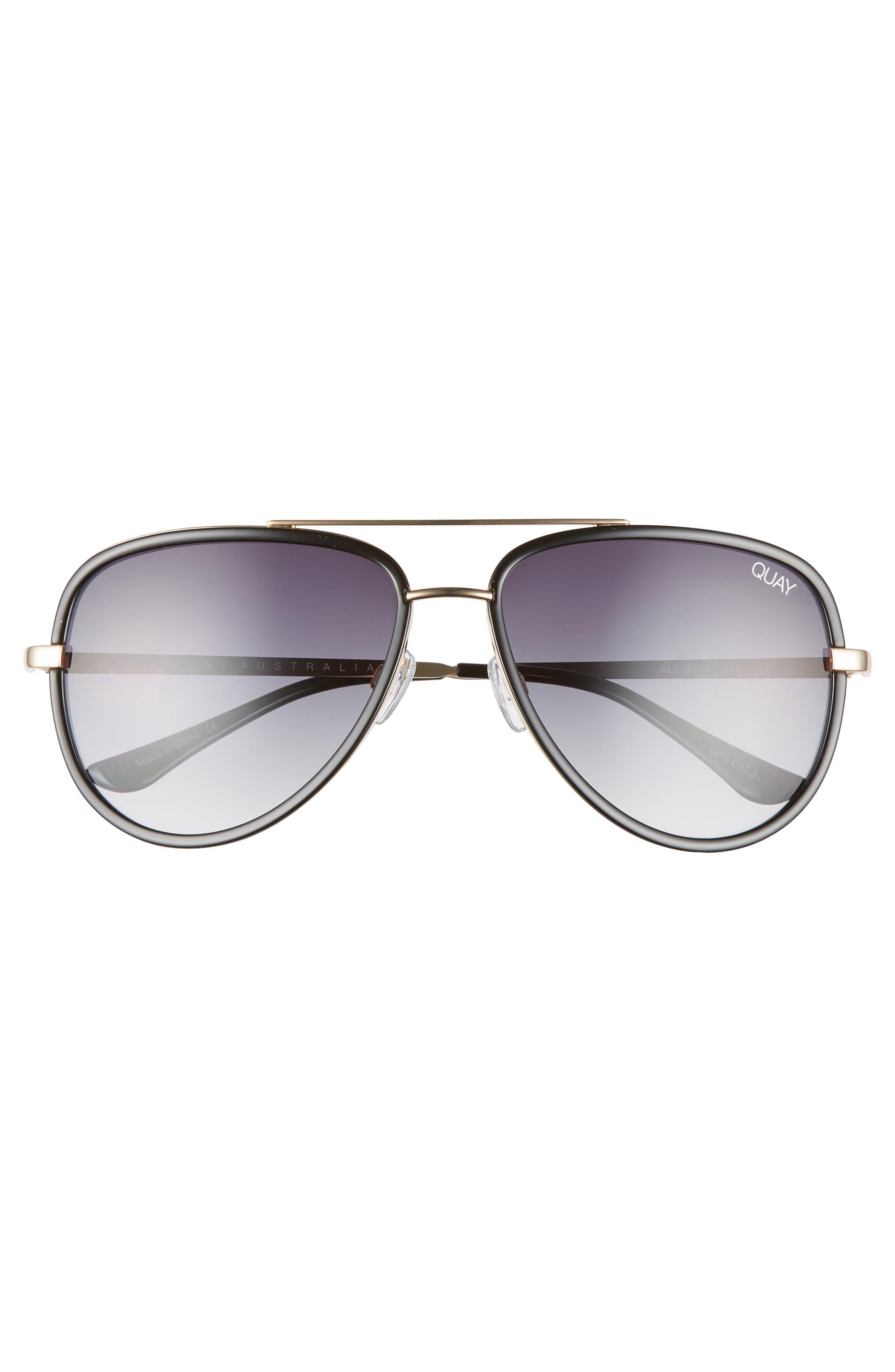 QUAY AUSTRALIA, x JLO All In 56mm Aviator Sunglasses, Alternate thumbnail 3, color, BLACK/ SMOKE FADE
