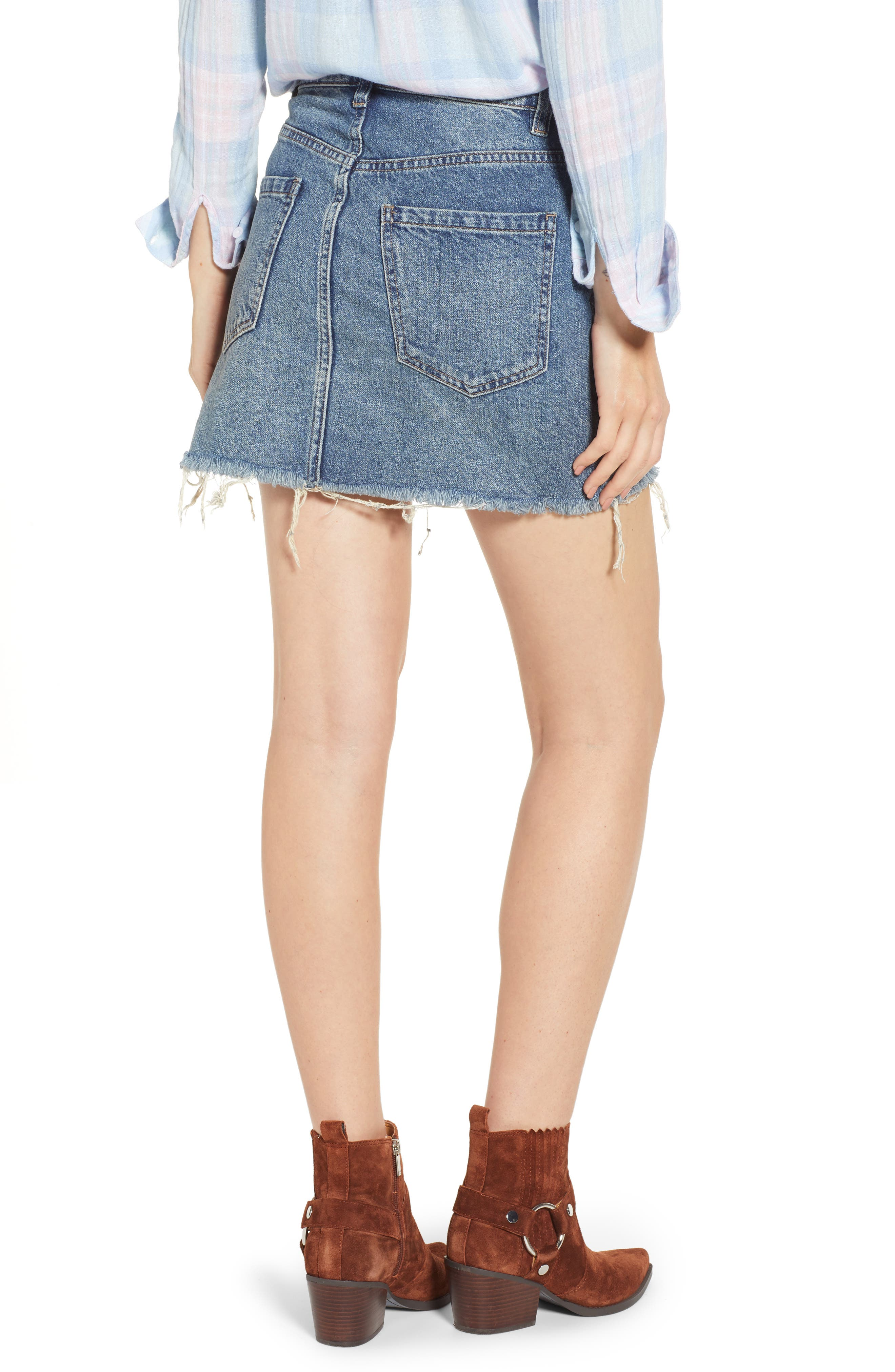 FREE PEOPLE, We the Free by Free People Zip It Up Denim Miniskirt, Alternate thumbnail 2, color, BLUE