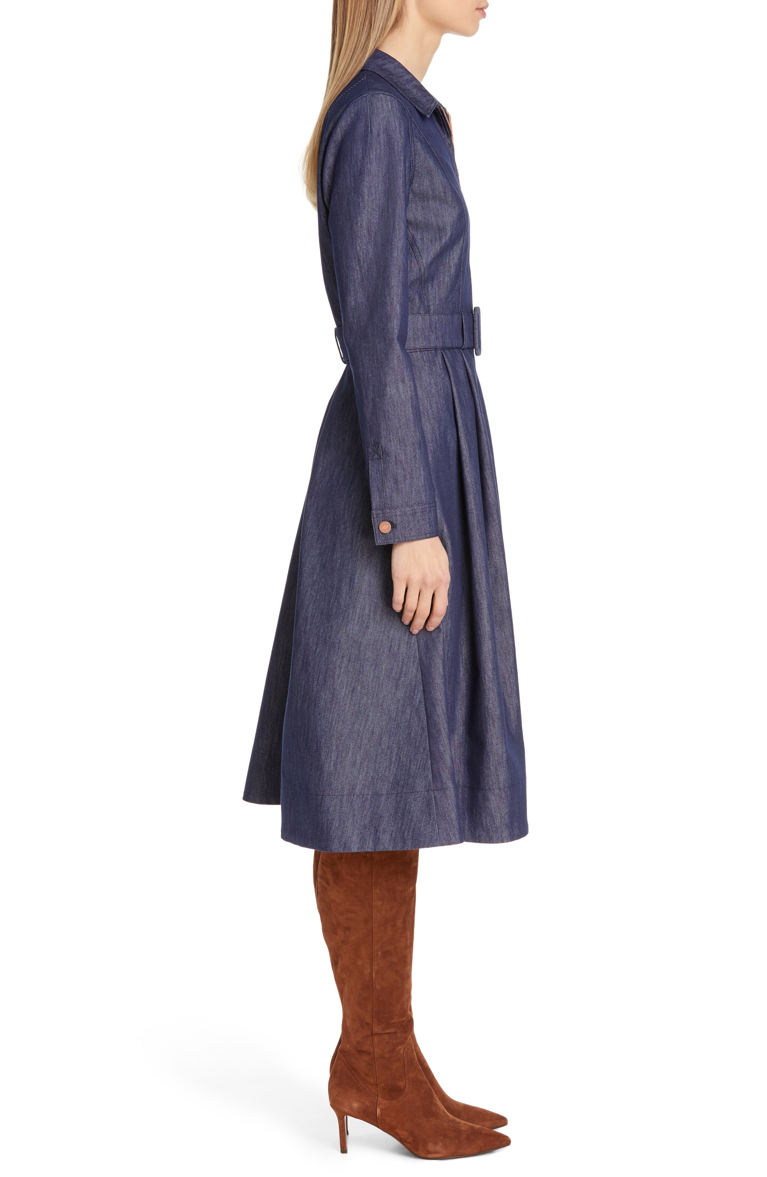TOMMY X ZENDAYA, Belted Denim Dress, Alternate thumbnail 3, color, DENIM BLUE