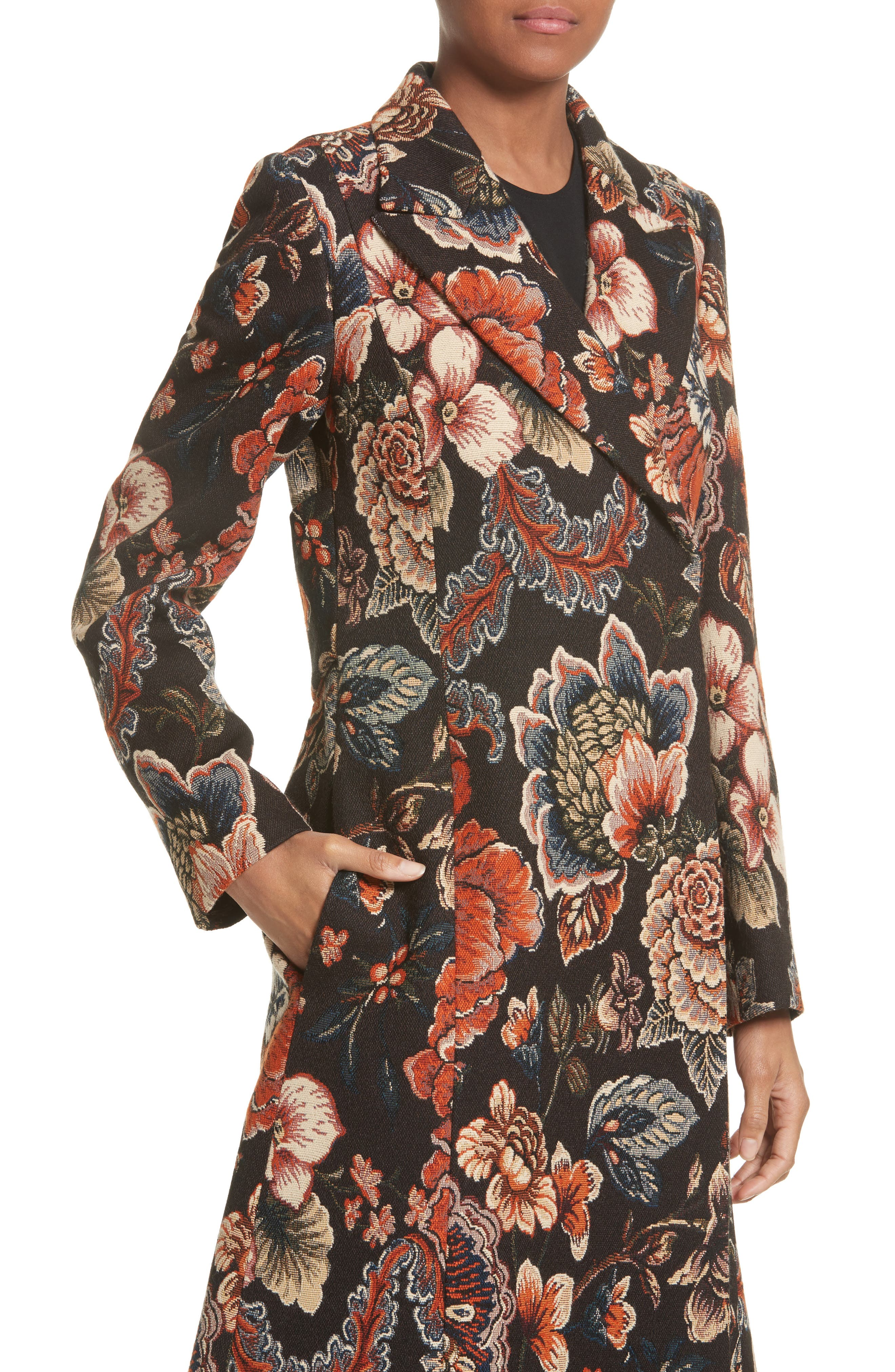 STELLA MCCARTNEY, Floral Tapestry Long Coat, Alternate thumbnail 4, color, 960