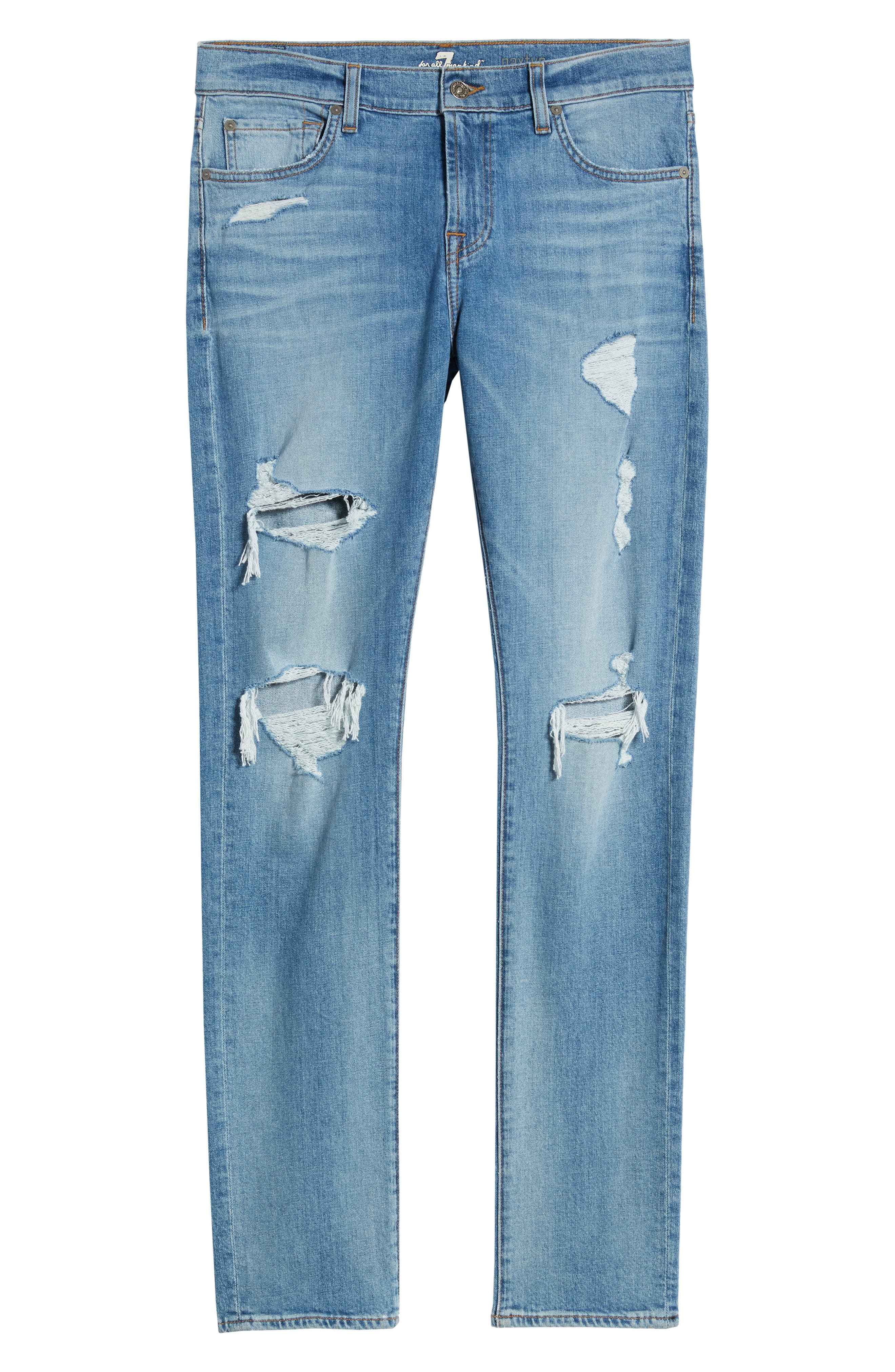 7 FOR ALL MANKIND<SUP>®</SUP>, Paxtyn Ripped Skinny Jeans, Alternate thumbnail 7, color, CONQUISTAD