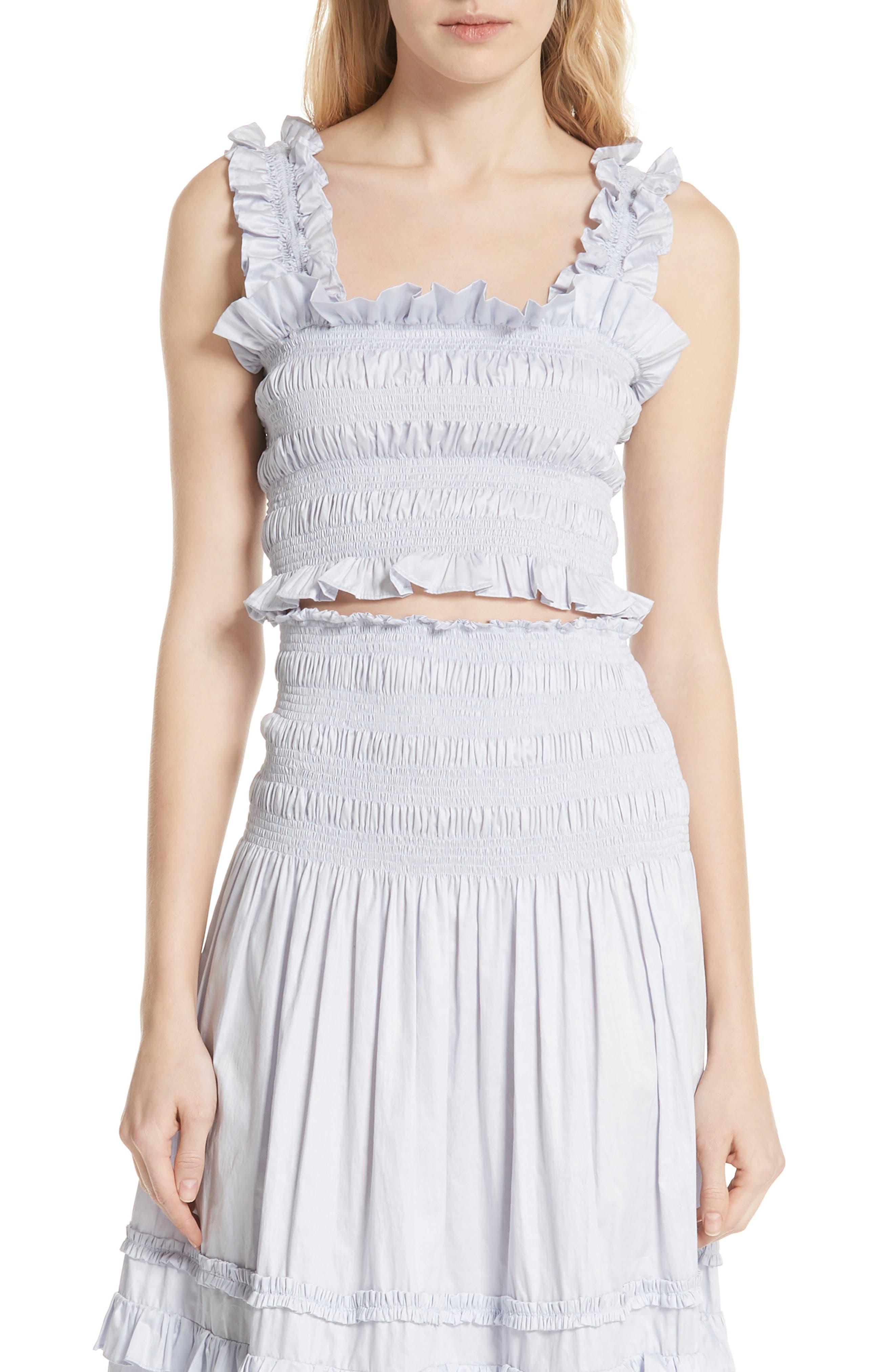 REBECCA TAYLOR, Smocked Sleeveless Cotton Top, Main thumbnail 1, color, 458
