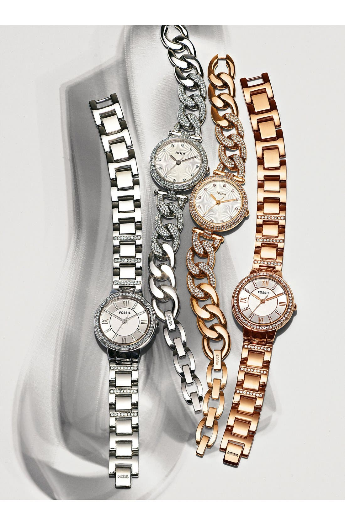 FOSSIL, 'Virginia' Crystal Accent Bracelet Watch, 30mm, Alternate thumbnail 5, color, ROSE GOLD/ WHITE/ ROSE GOLD