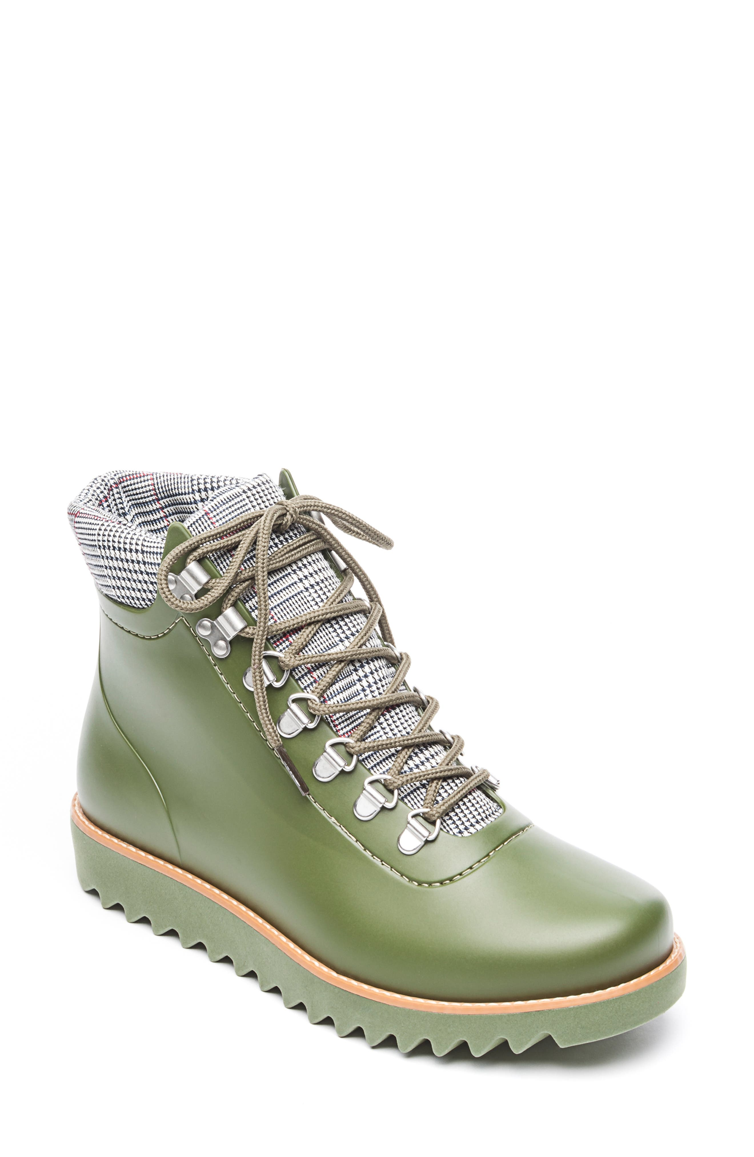 BERNARDO, Winnie Waterproof Rain Bootie, Main thumbnail 1, color, MILITARY GREEN