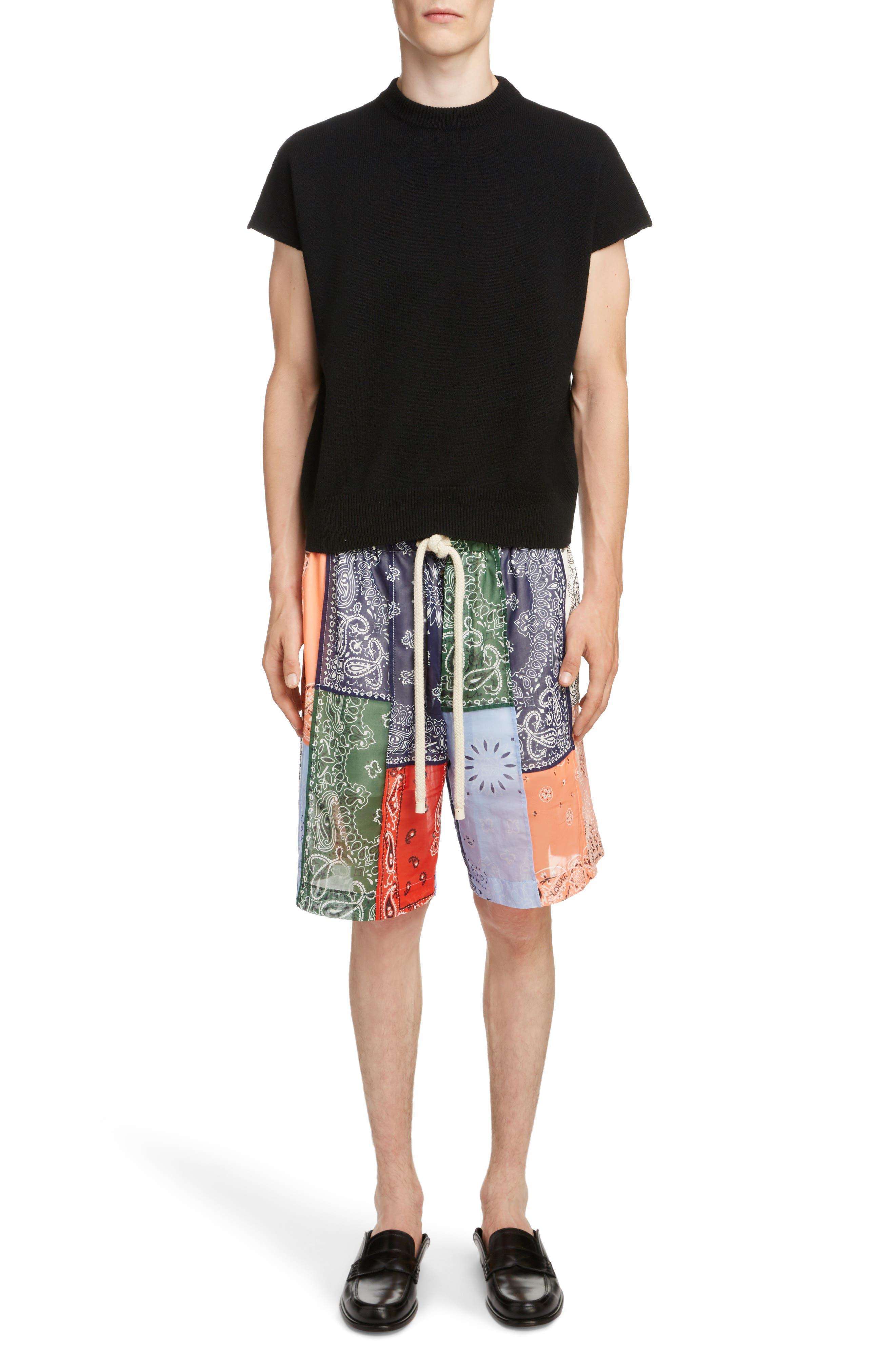 LOEWE, Bandana Patchwork Shorts, Alternate thumbnail 6, color, 9990-MULTICOLOR