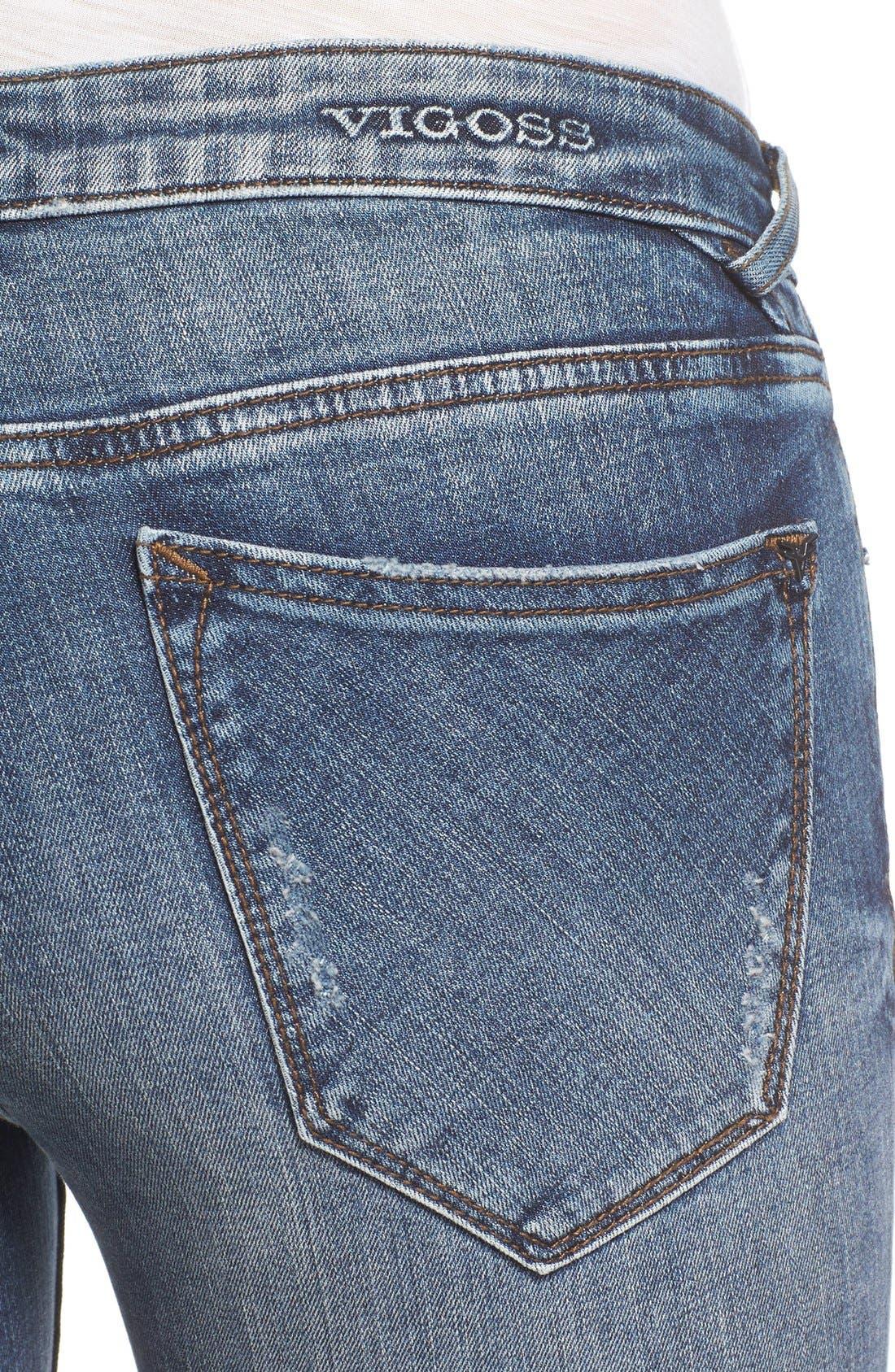 VIGOSS, 'Thompson Tomboy' Ripped Boyfriend Jeans, Alternate thumbnail 4, color, 400