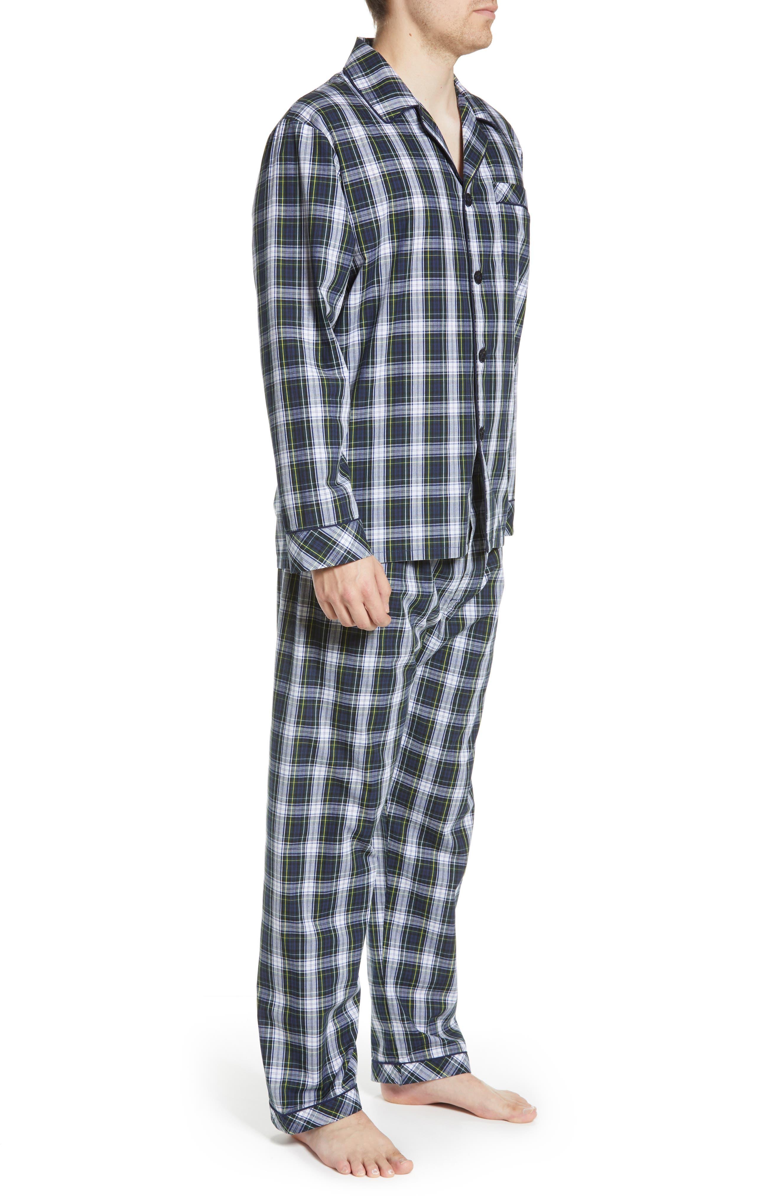 MAJESTIC INTERNATIONAL, Edward Easy Care Pajamas, Alternate thumbnail 3, color, GREEN