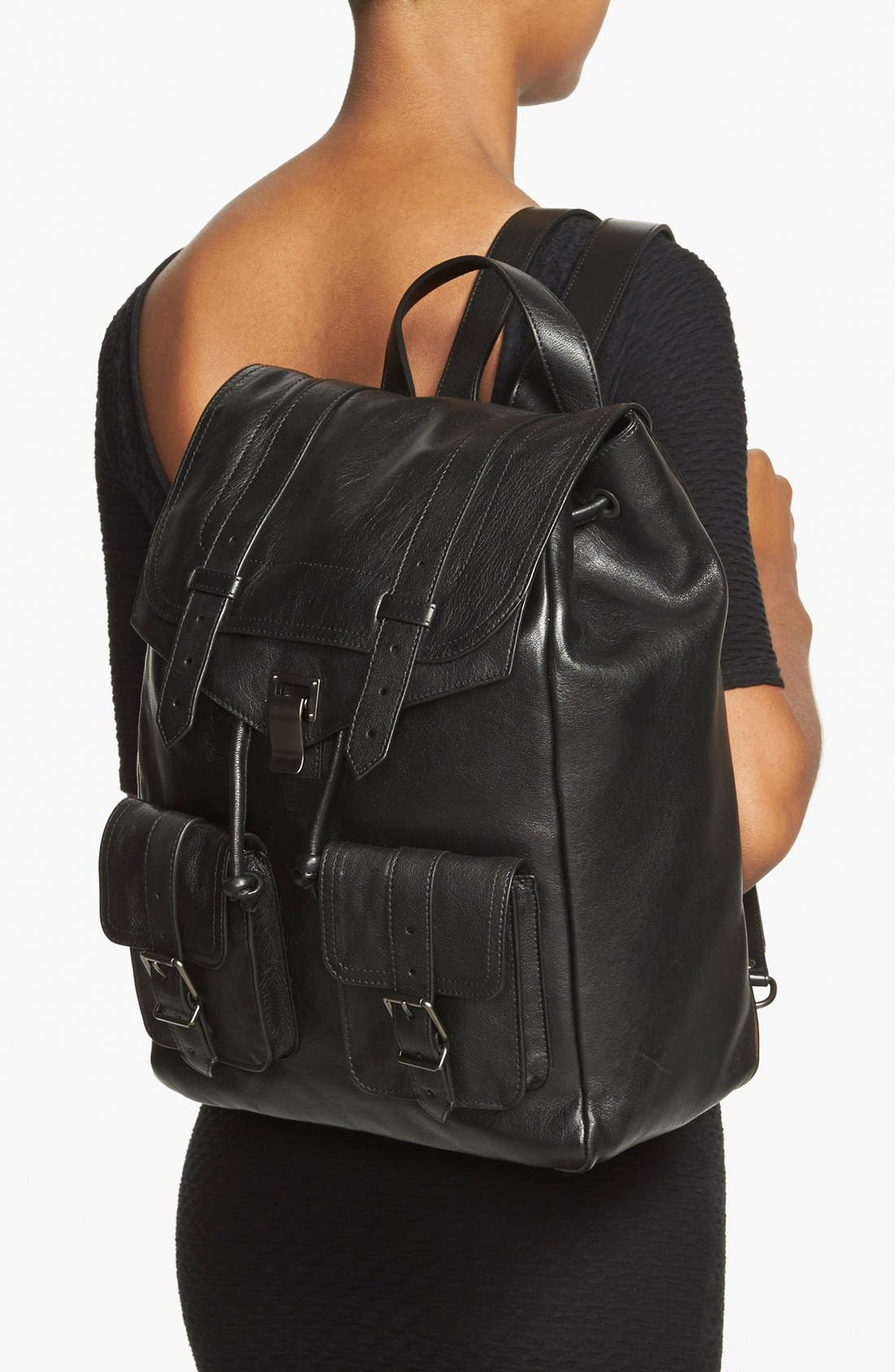 PROENZA SCHOULER, 'PS1' Leather Backpack, Alternate thumbnail 4, color, 001