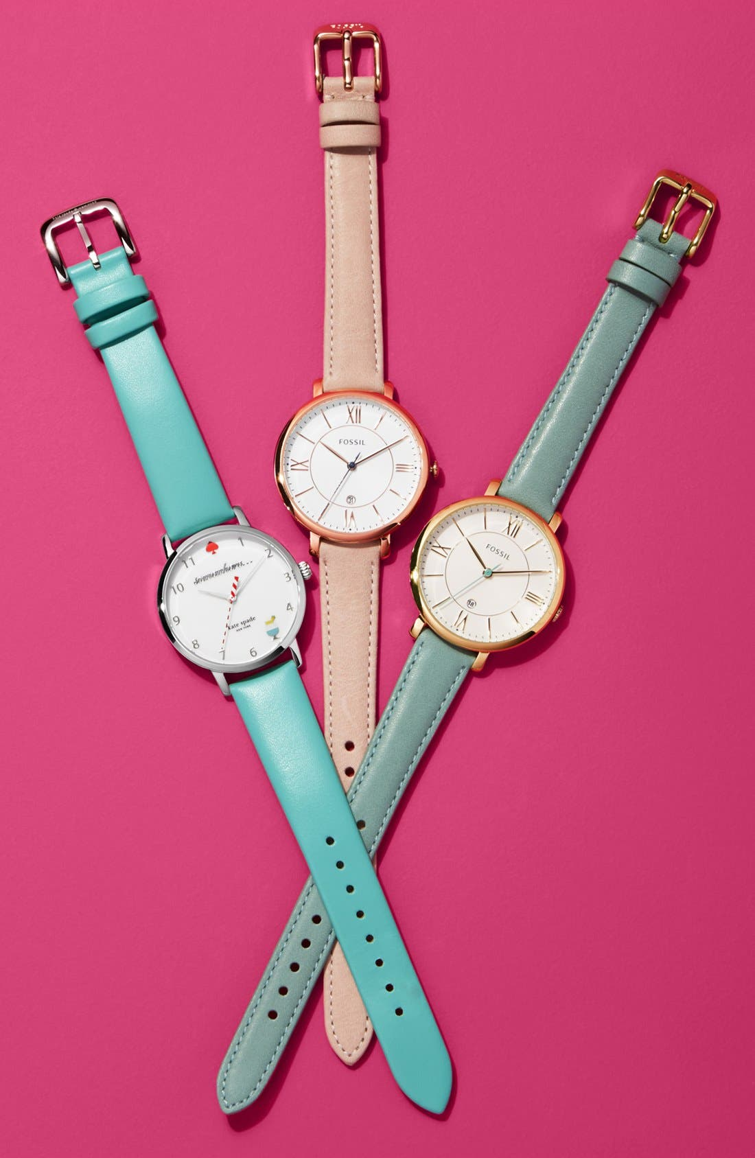 FOSSIL, 'Jacqueline' Leather Strap Watch, 36mm, Alternate thumbnail 4, color, BLUSH/ WHITE