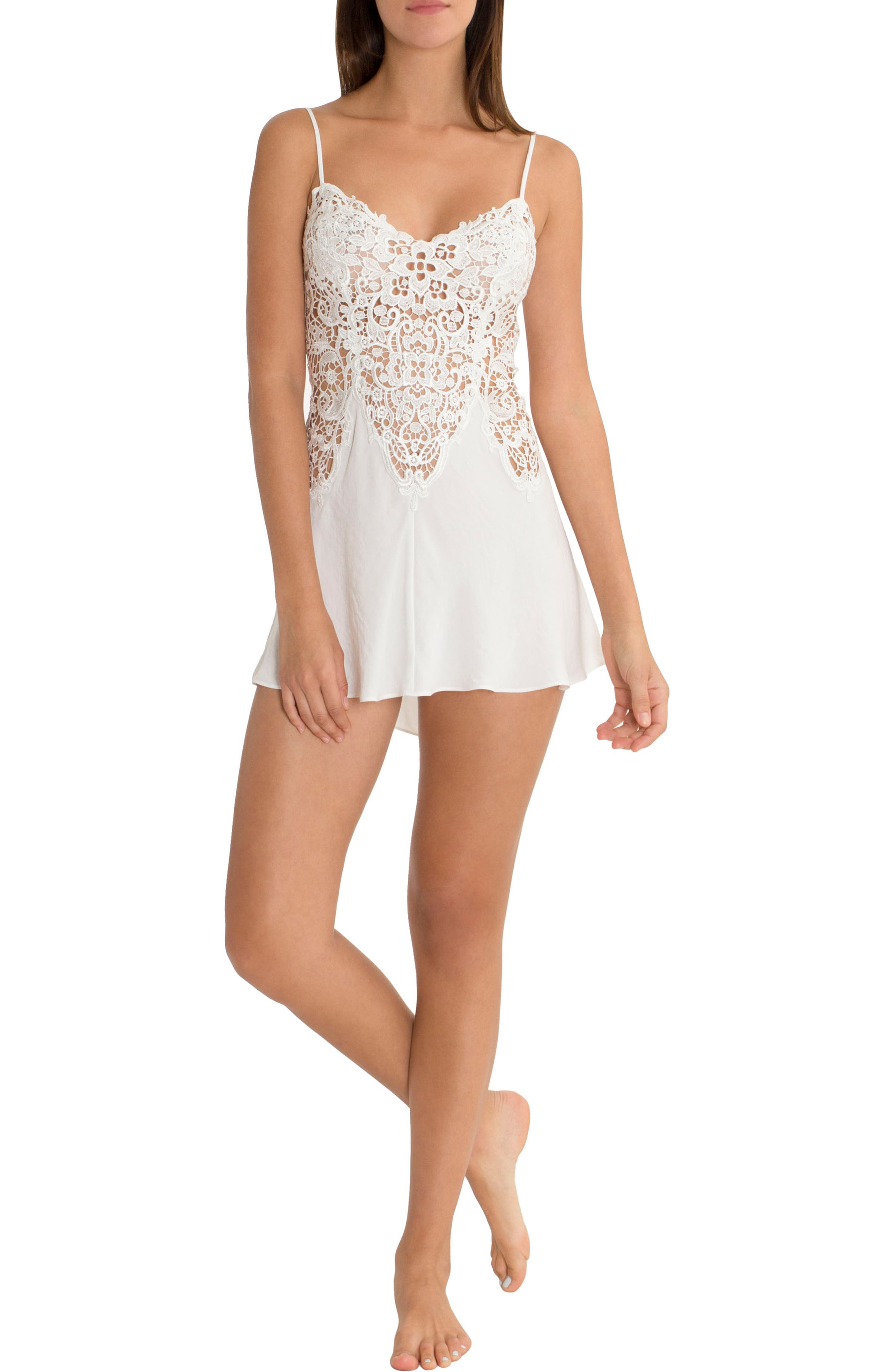 IN BLOOM BY JONQUIL, Lace & Satin Chemise, Alternate thumbnail 5, color, IVORY