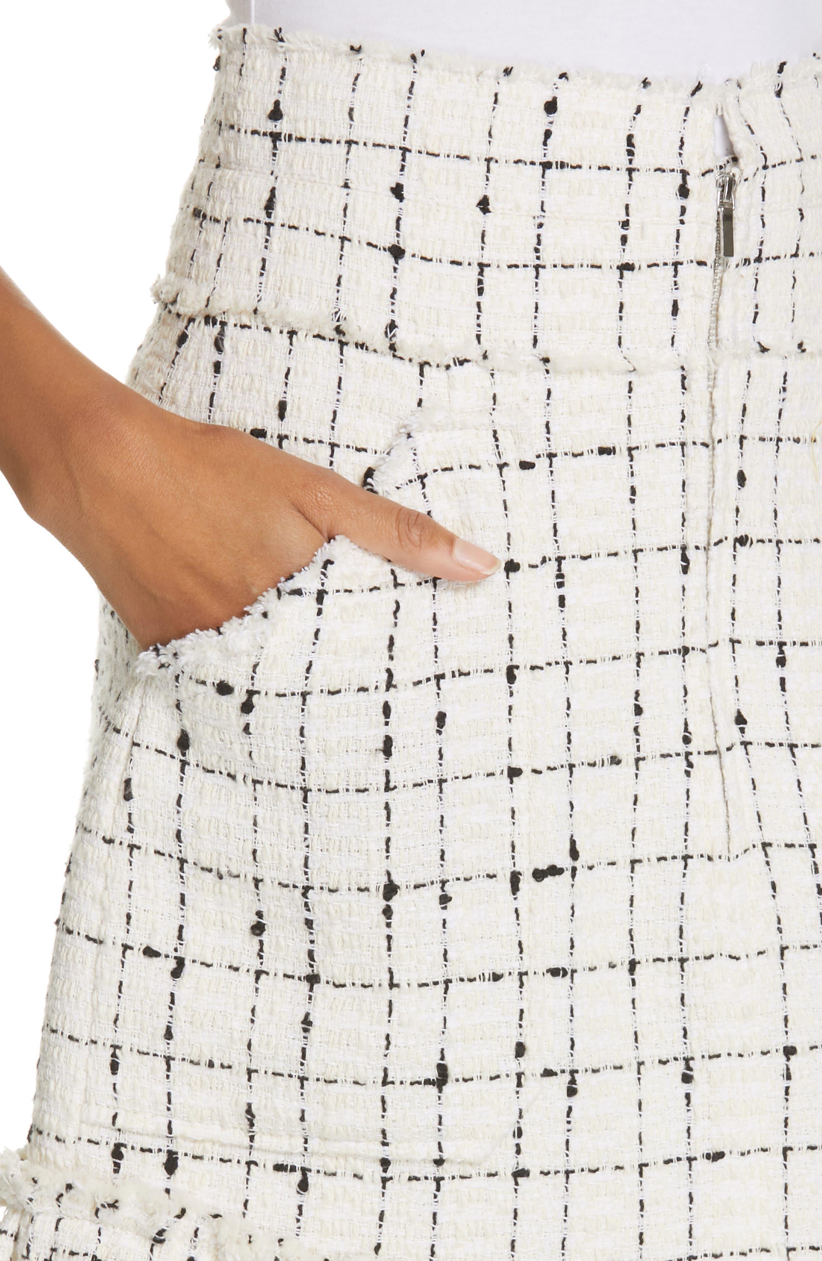 REBECCA TAYLOR, Scallop Hem Tweed Skirt, Alternate thumbnail 4, color, CREAM COMBO