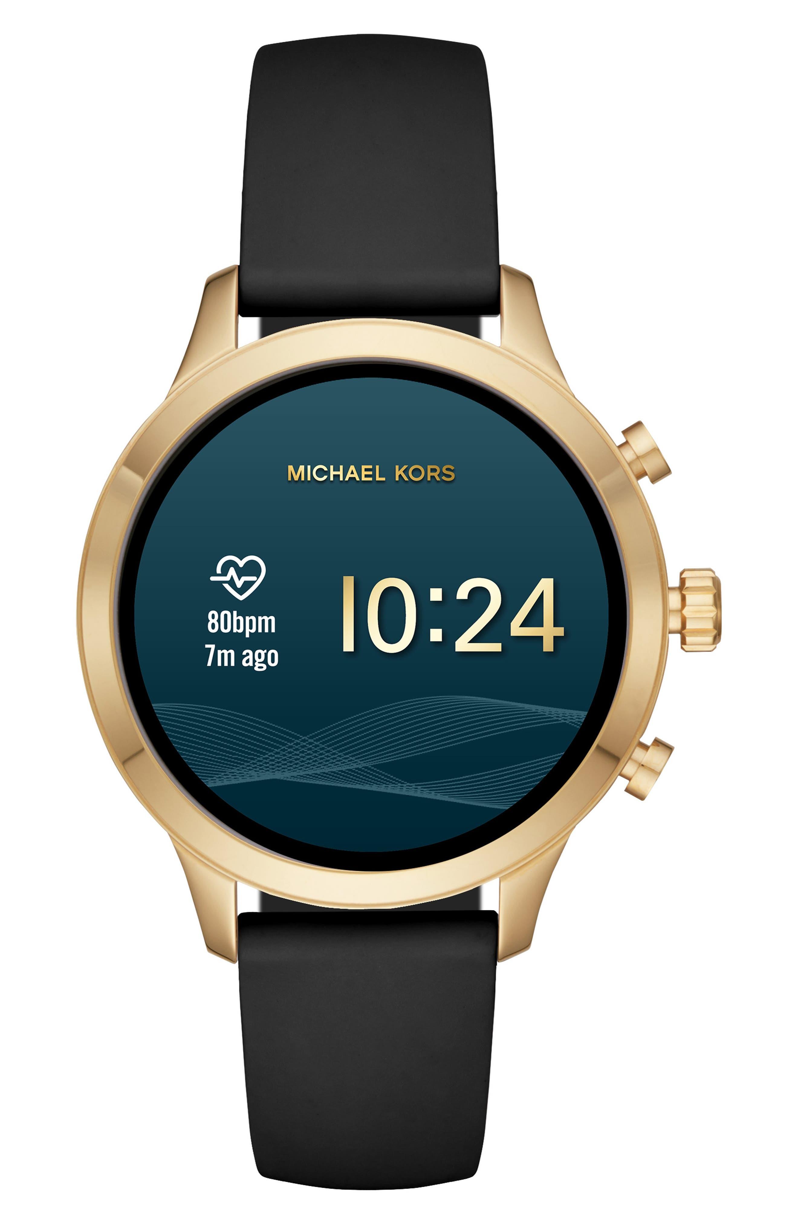 MICHAEL KORS, MICHAEL Michael Kors Access Runway Smart Watch, 41mm, Alternate thumbnail 6, color, BLACK/ GOLD