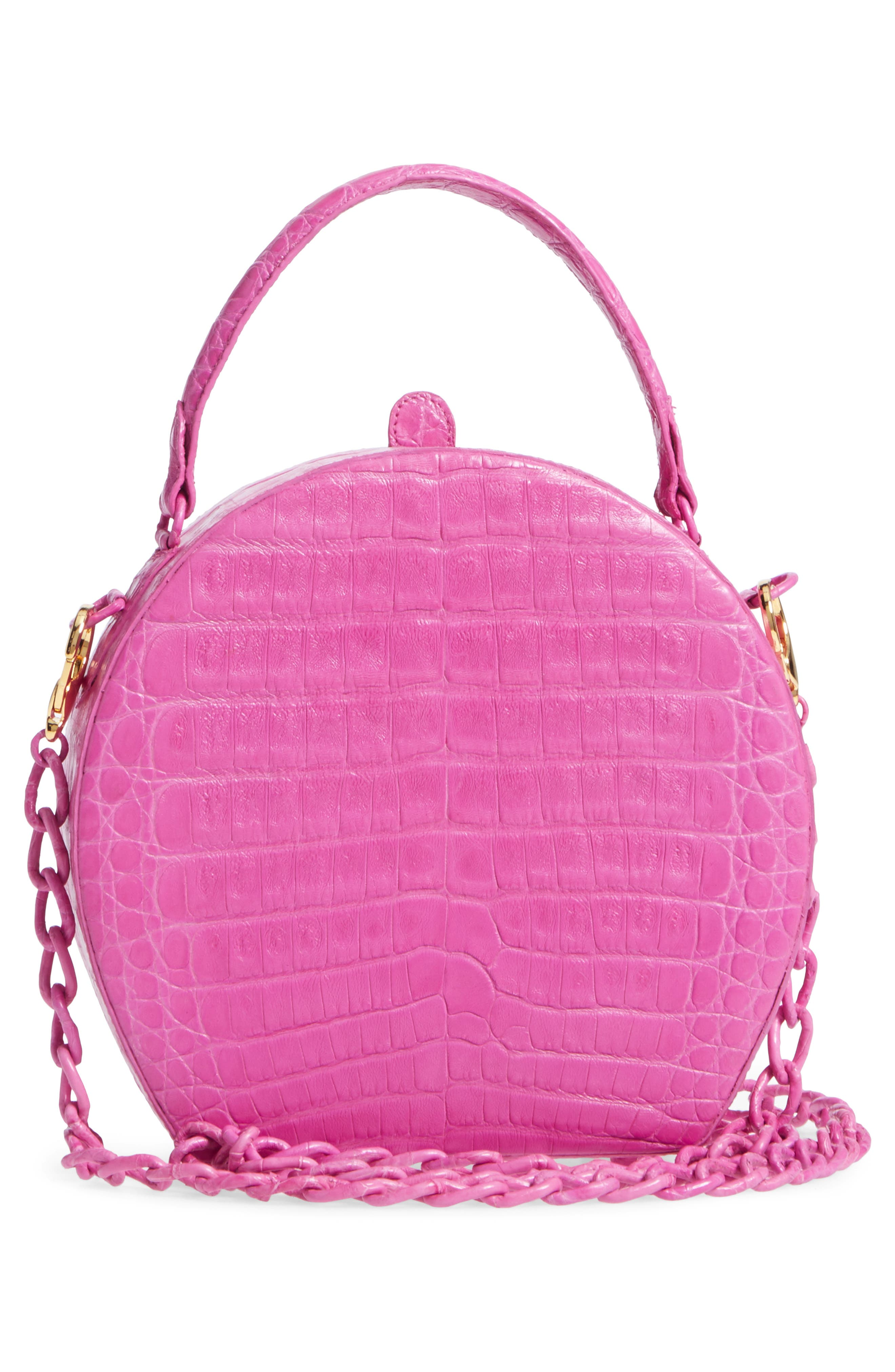 NANCY GONZALEZ, Genuine Crocodile Circle Bag, Alternate thumbnail 3, color, 657