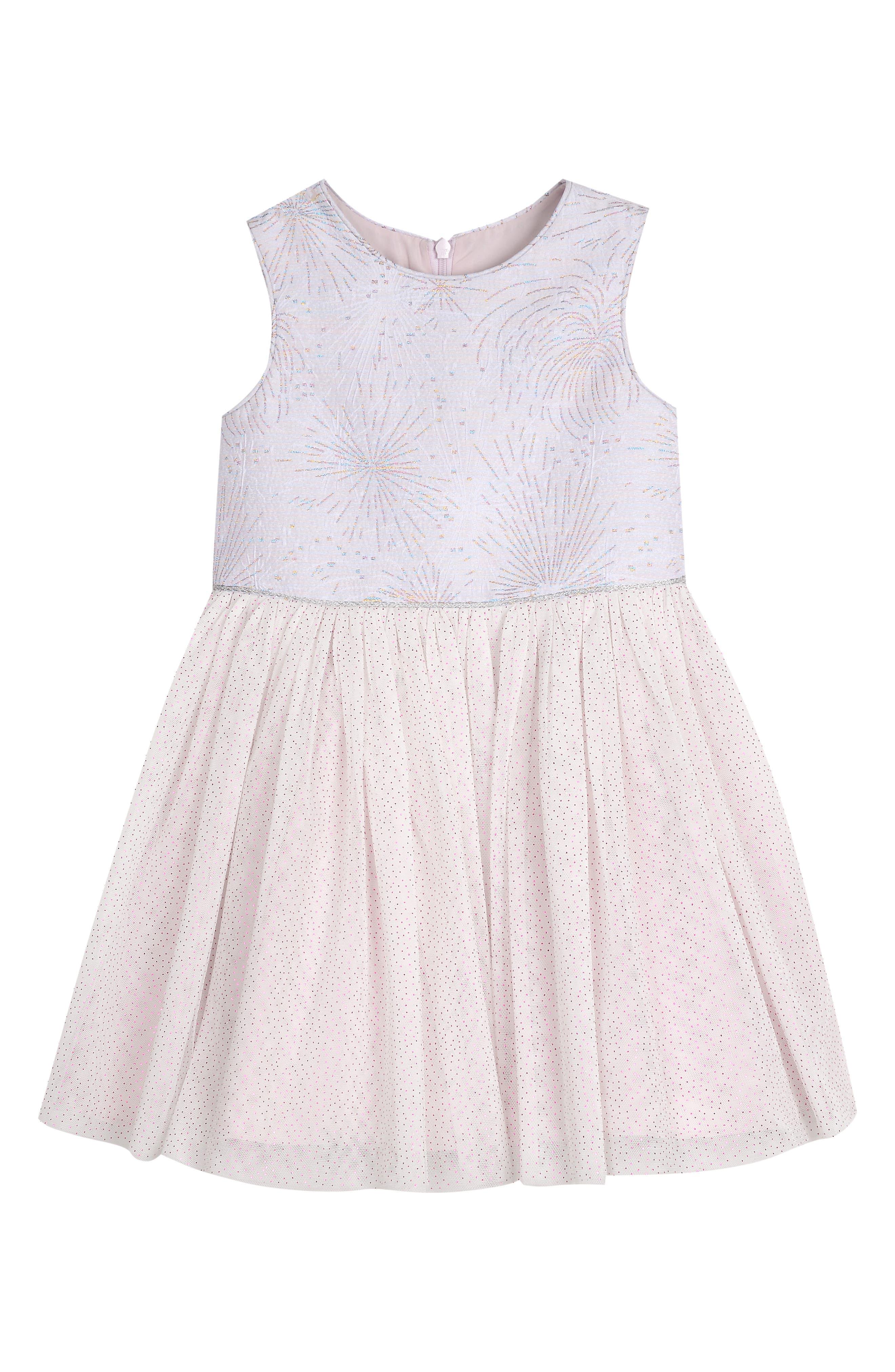 PIPPA & JULIE Glitter Fireworks Tulle Dress, Main, color, WHITE