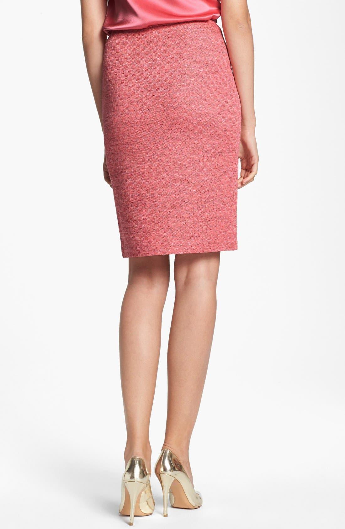 ST. JOHN COLLECTION, Damier Knit Pencil Skirt, Alternate thumbnail 3, color, 950