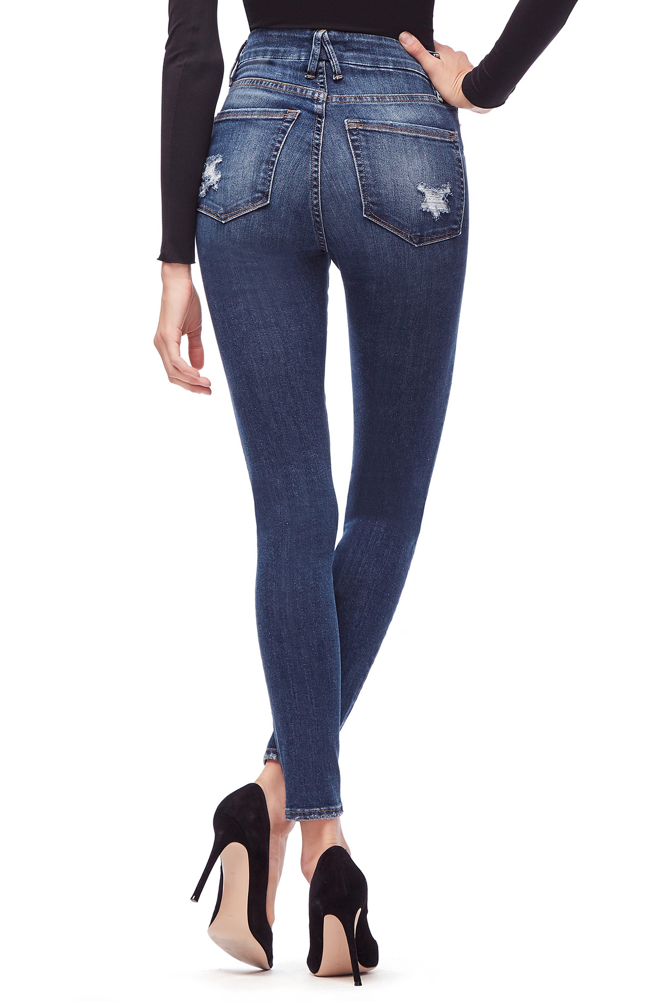 GOOD AMERICAN, Good Waist Ripped High Waist Skinny Jeans, Alternate thumbnail 4, color, BLUE 195
