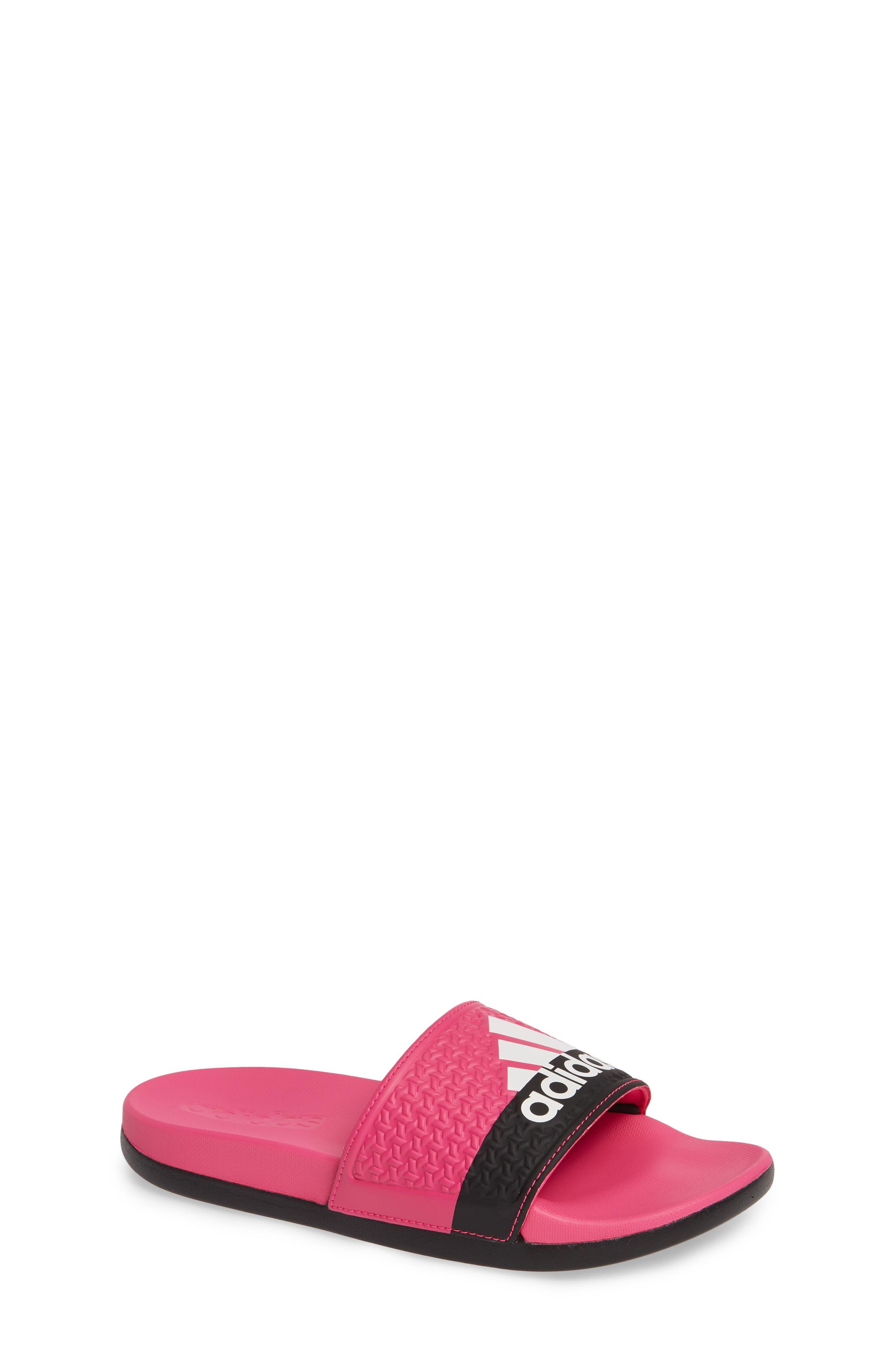 ADIDAS Adilette CF K Sport Slide, Main, color, SHOCK PINK/ WHITE/ CORE BLACK
