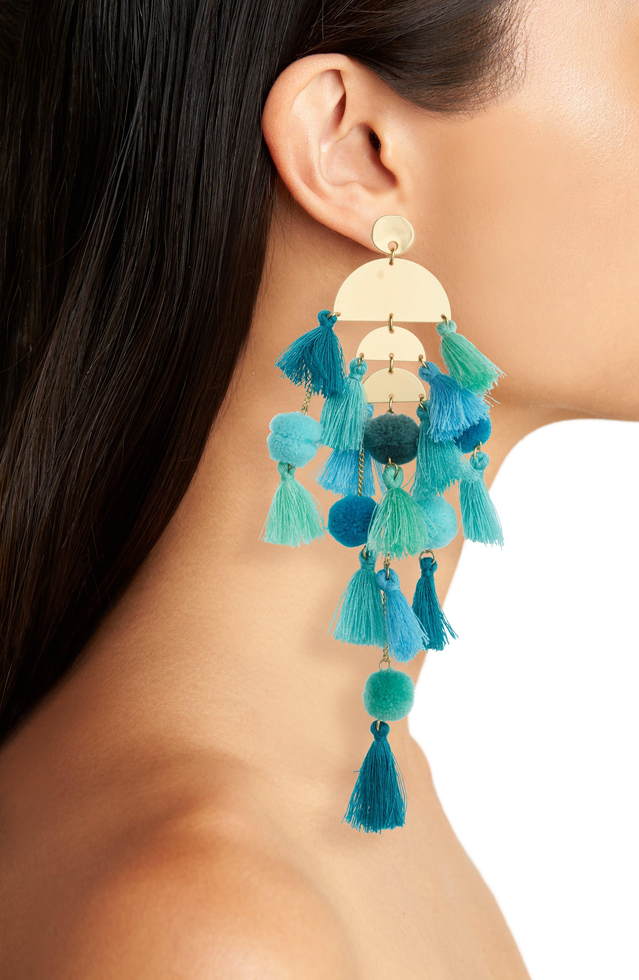 STELLA + RUBY, Calypso Tassel Earrings, Alternate thumbnail 2, color, GOLD/ TURQUOISE