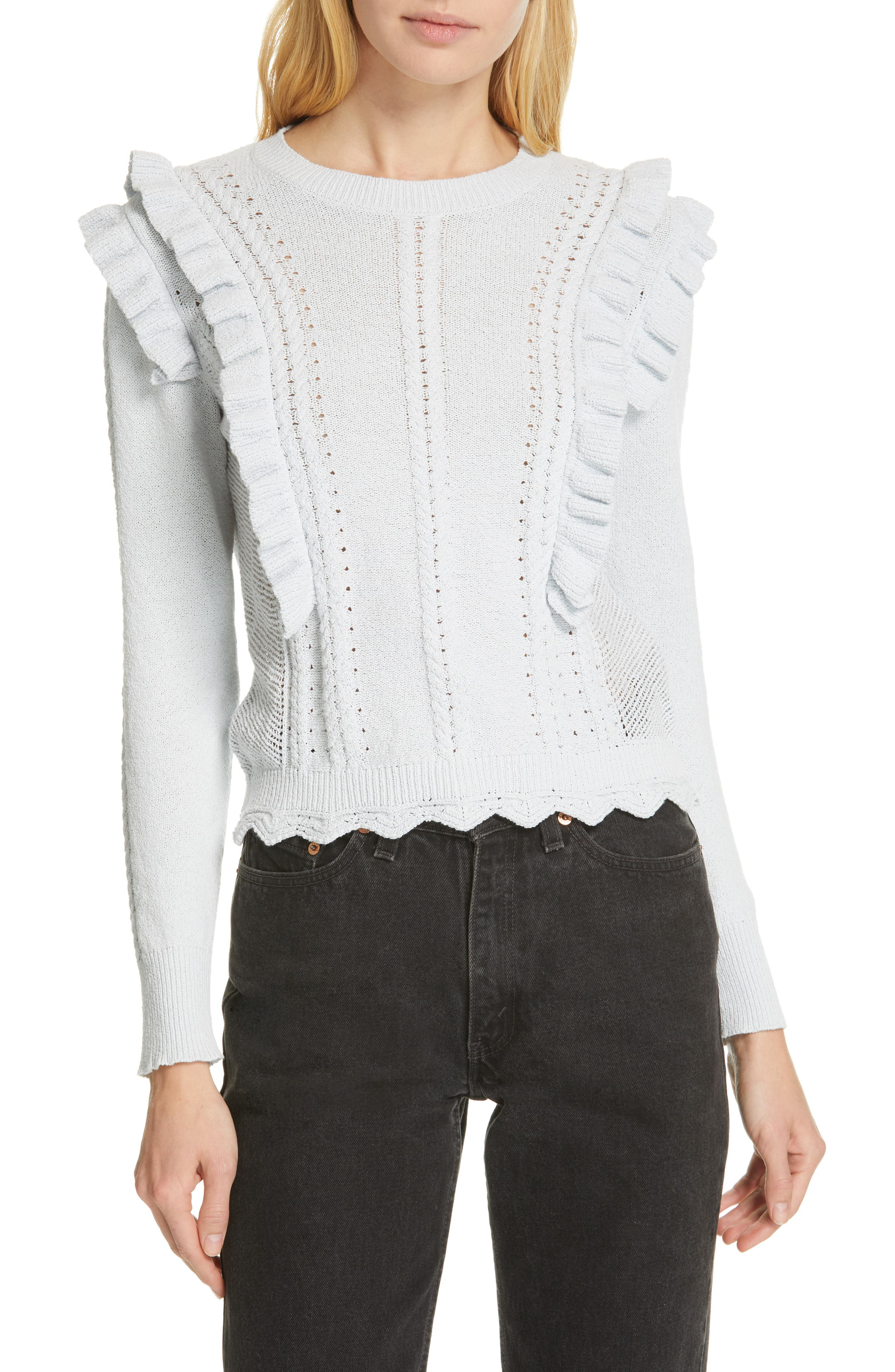 REBECCA TAYLOR Ruffled Sweater, Main, color, LIGHT MINT