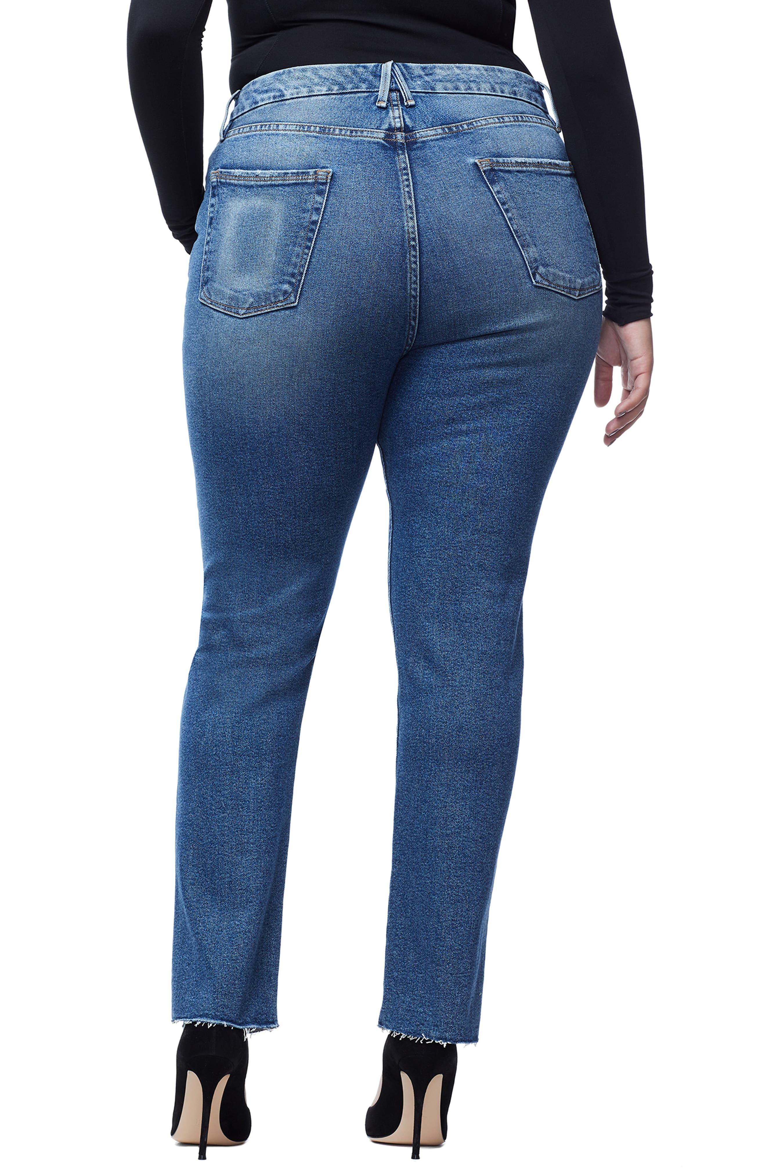 GOOD AMERICAN, Good Boy Raw Hem Boyfriend Jeans, Alternate thumbnail 5, color, 401