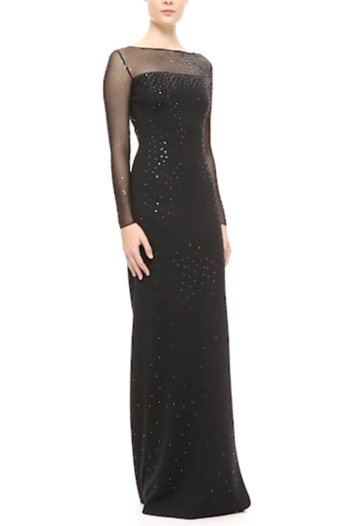 ST. JOHN COLLECTION, Embellished Shimmer Milano Knit Gown, Alternate thumbnail 3, color, 001
