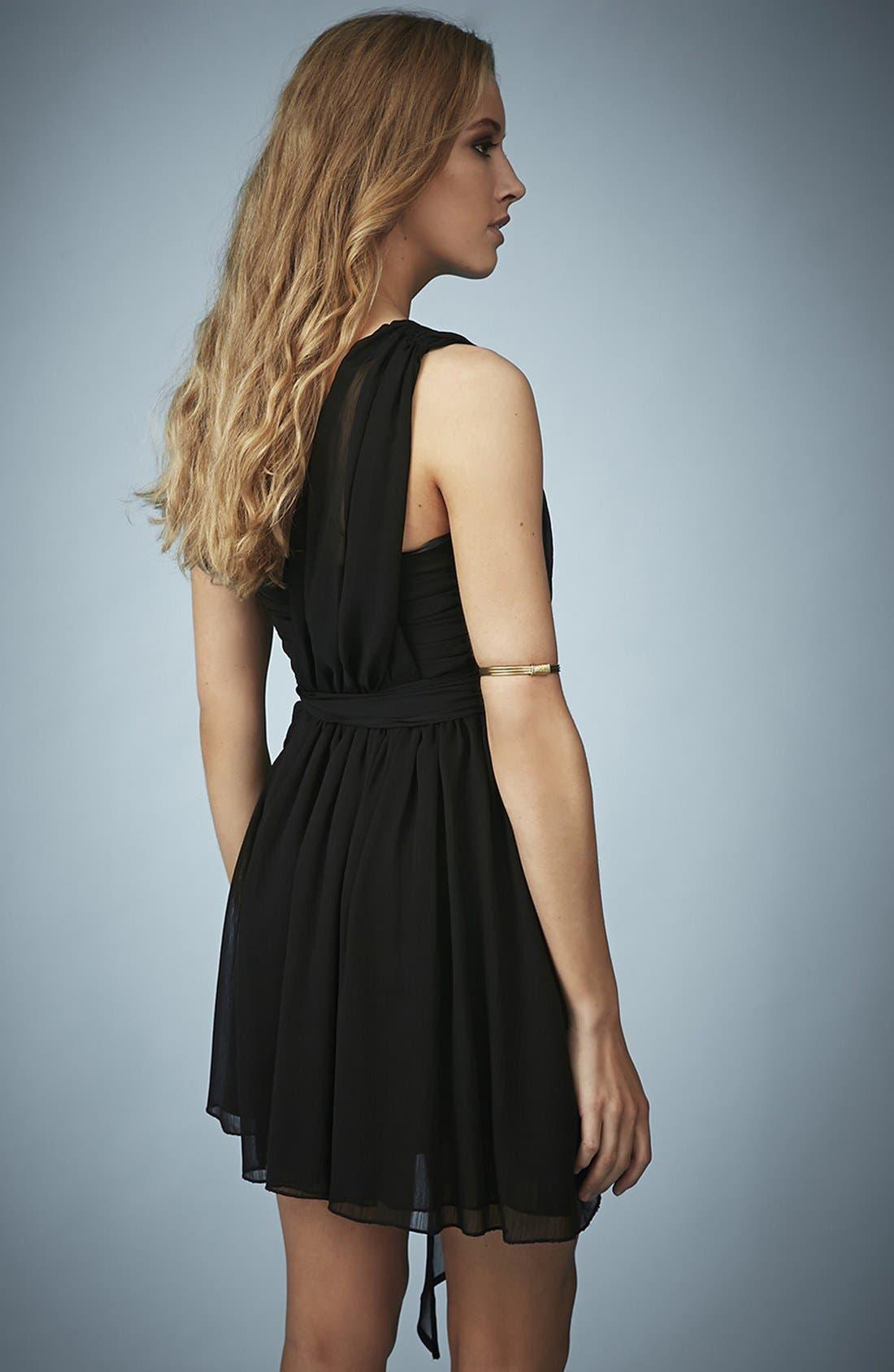 TOPSHOP, Kate Moss for Topshop One-Shoulder Chiffon Dress, Alternate thumbnail 3, color, 001