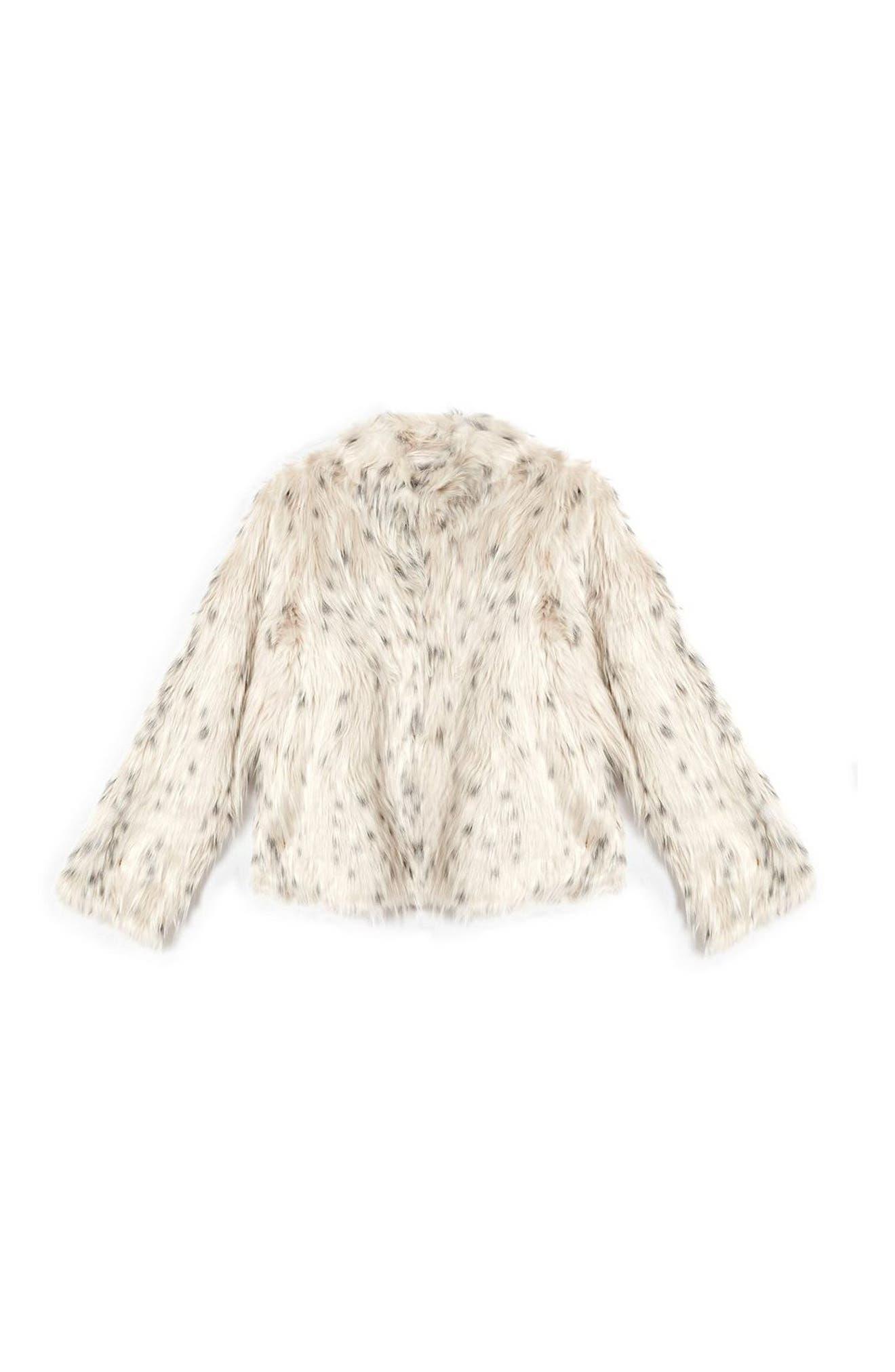 TOPSHOP, Patsy Snow Leopard Faux Fur Jacket, Alternate thumbnail 5, color, 001
