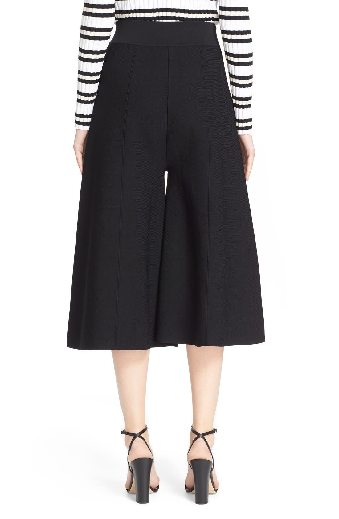 MILLY, Knit Culottes, Alternate thumbnail 5, color, 001