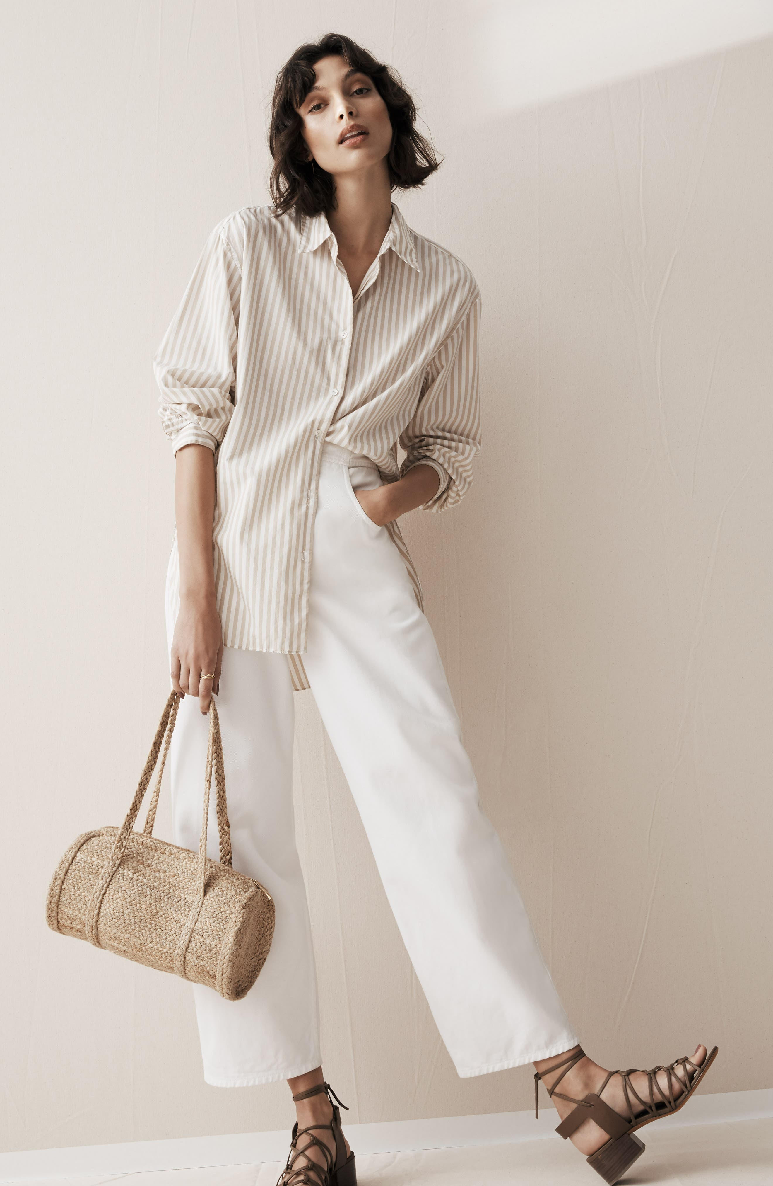 NILI LOTAN, Toledo Crop Cotton Pants, Alternate thumbnail 9, color, VINTAGE WHITE