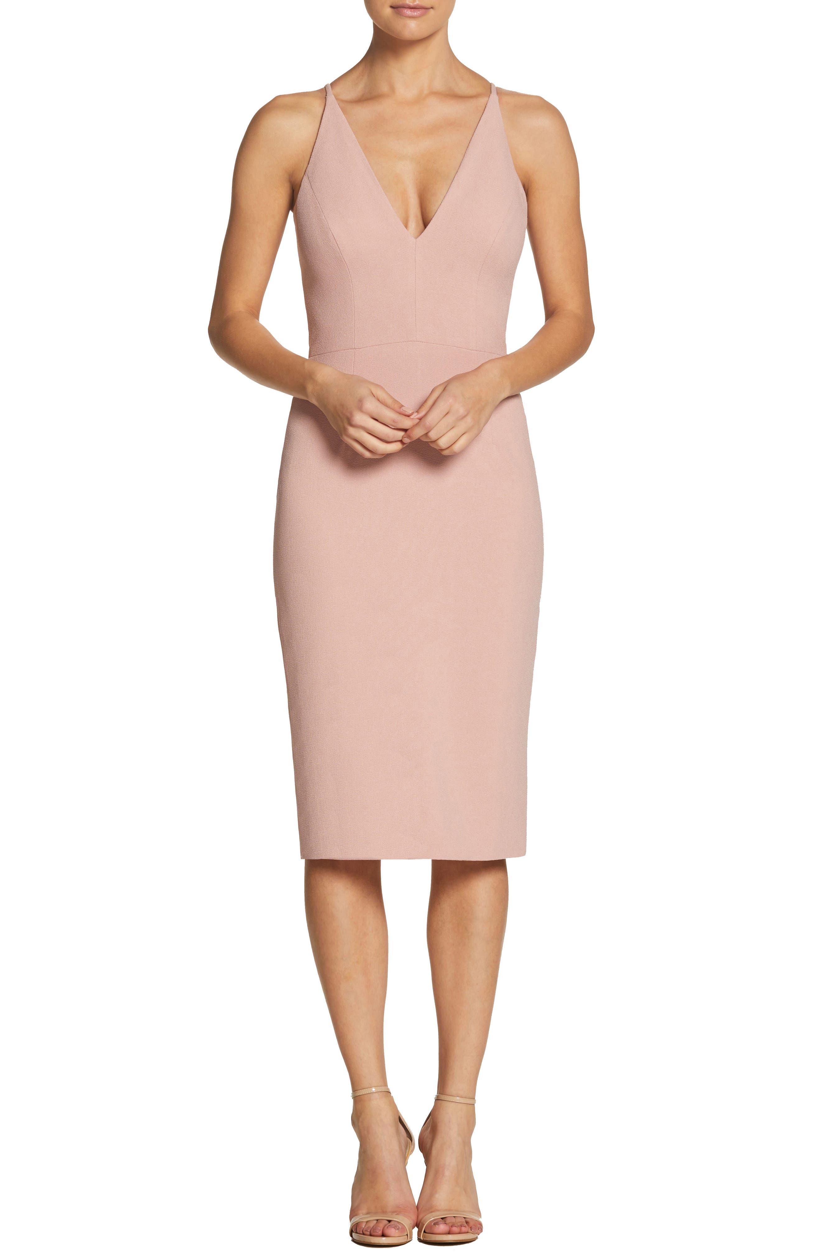 Dress The Population Lyla Crepe Sheath Dress, Pink