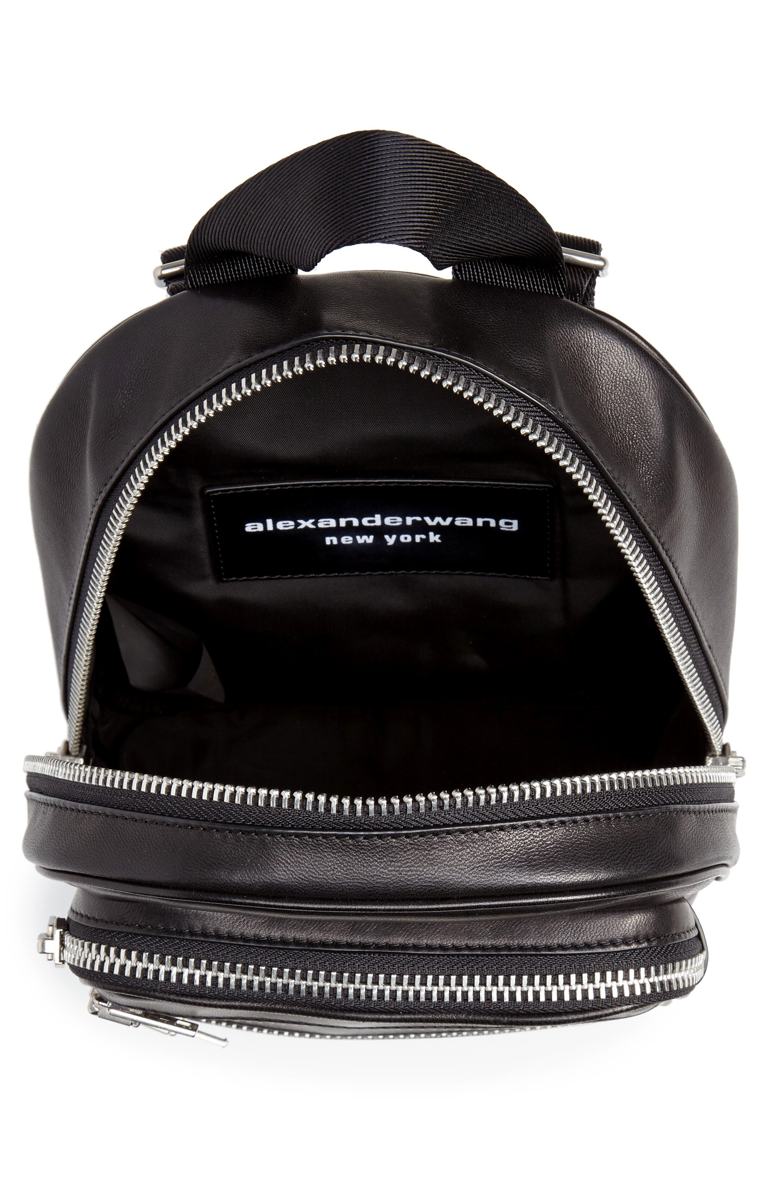 ALEXANDER WANG, Attica Lambskin Leather Backpack, Alternate thumbnail 4, color, BLACK