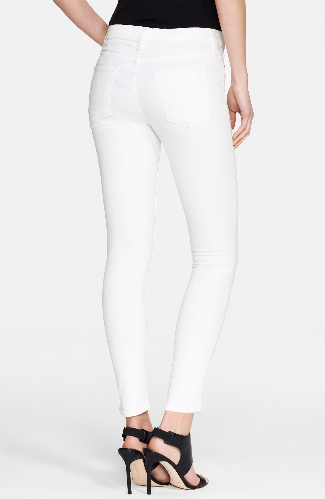 FRAME, Le Color Skinny Jeans, Alternate thumbnail 4, color, BLANC