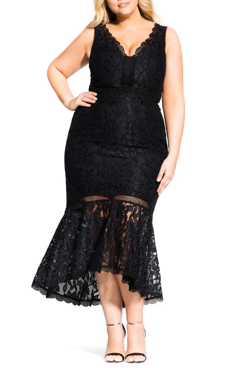 Trendy Plus Size Ravishing Lace Mermaid Dress in Black