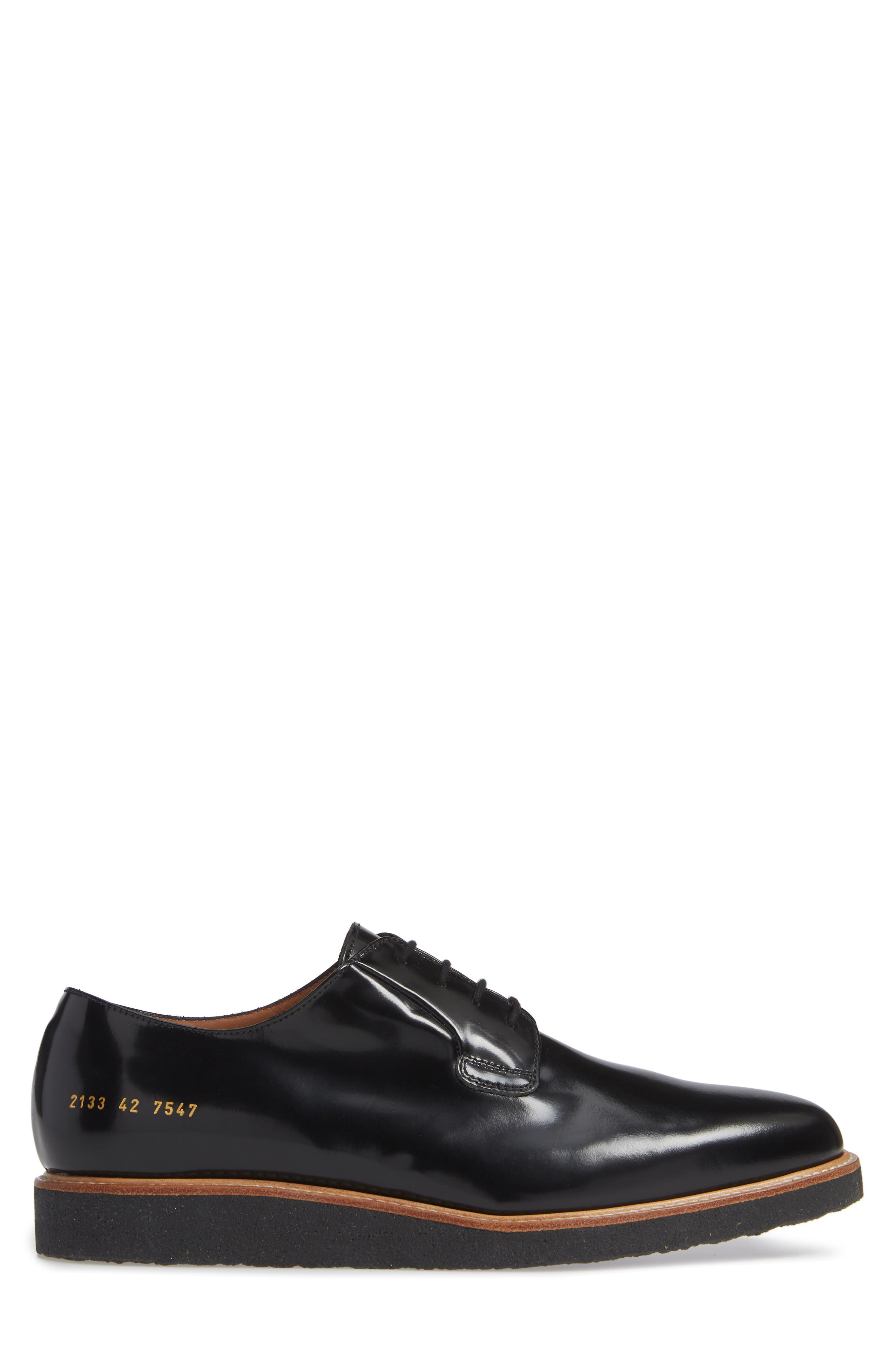 COMMON PROJECTS, Plain Toe Derby, Alternate thumbnail 3, color, BLACK SHINE