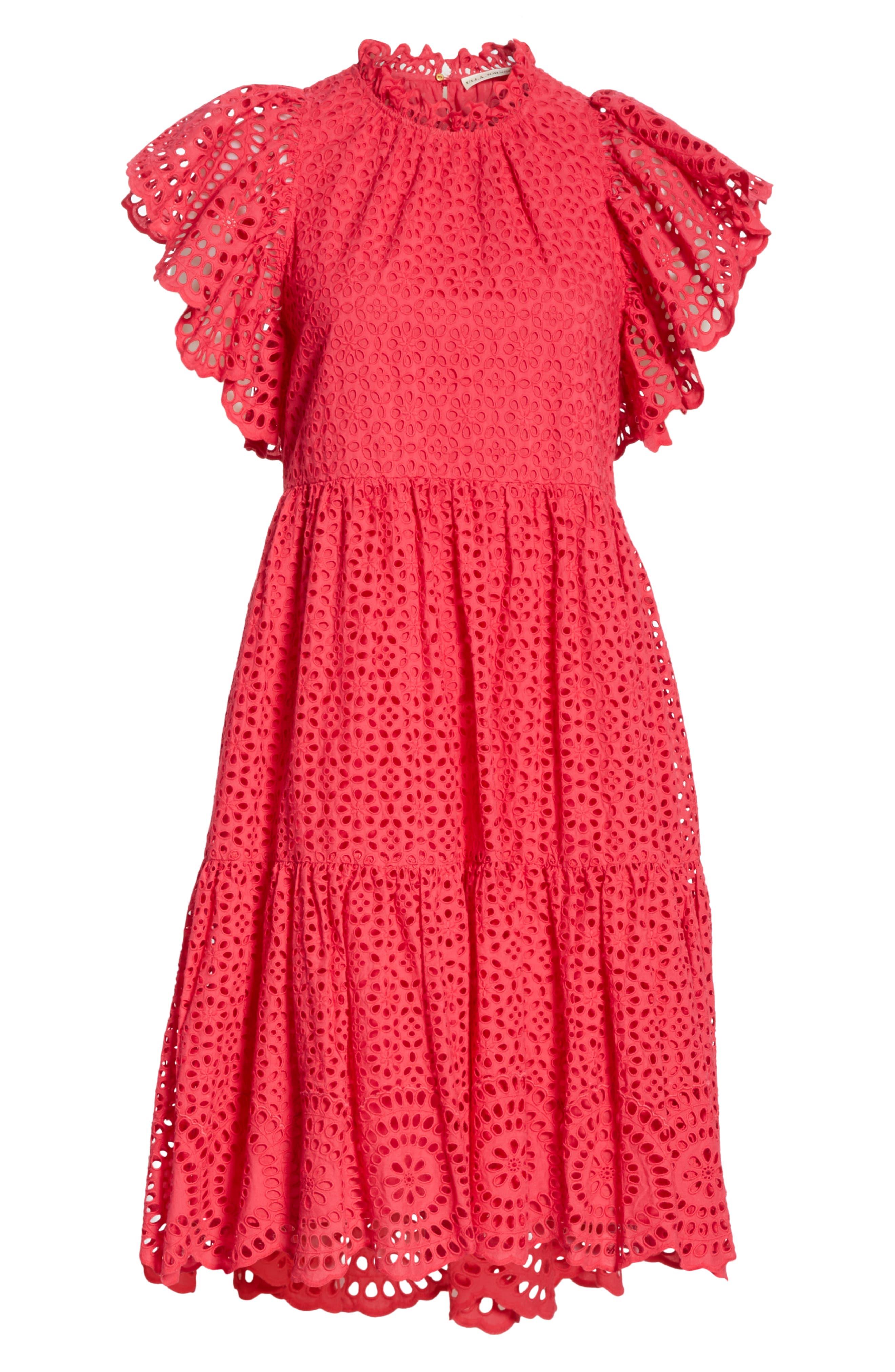 ULLA JOHNSON, Norah Eyelet Dress, Alternate thumbnail 7, color, FUCHSIA