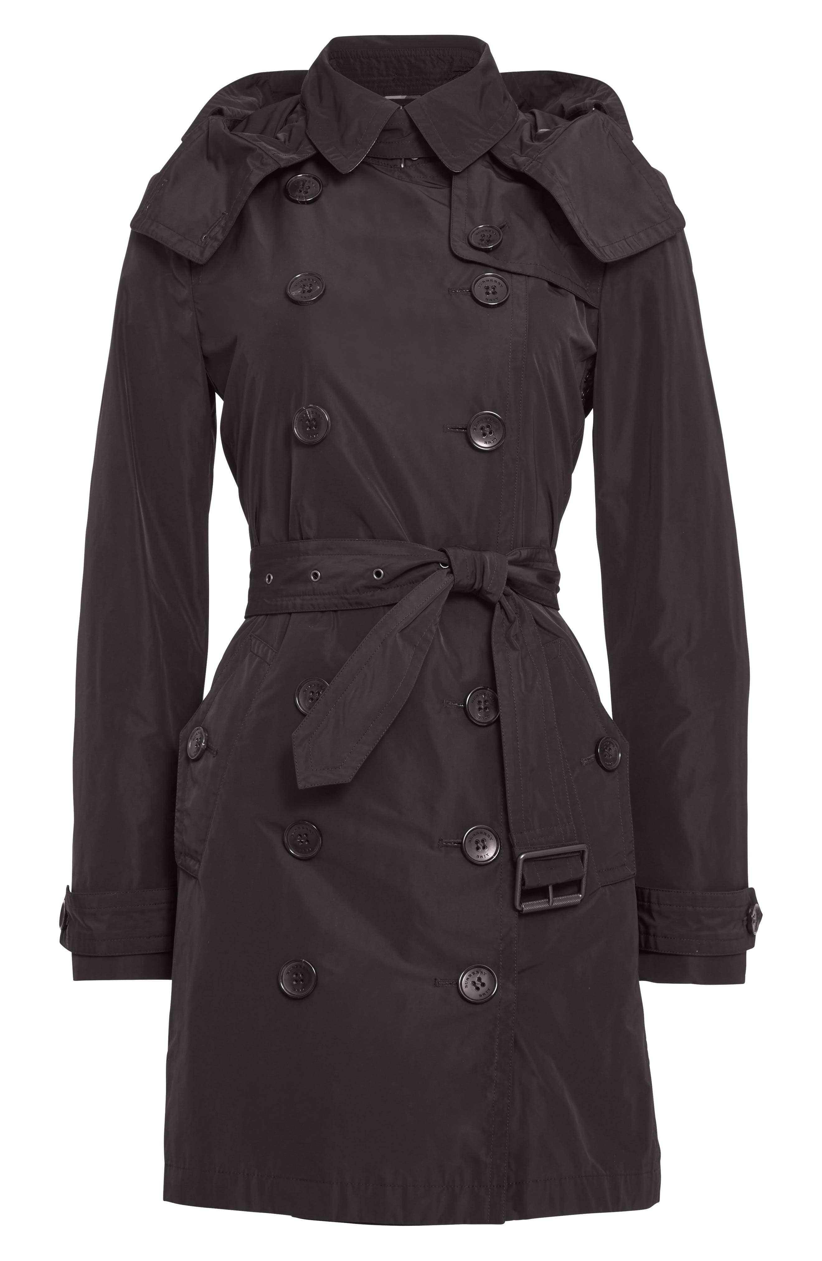 BURBERRY, Balmoral Packable Trench, Alternate thumbnail 7, color, 001