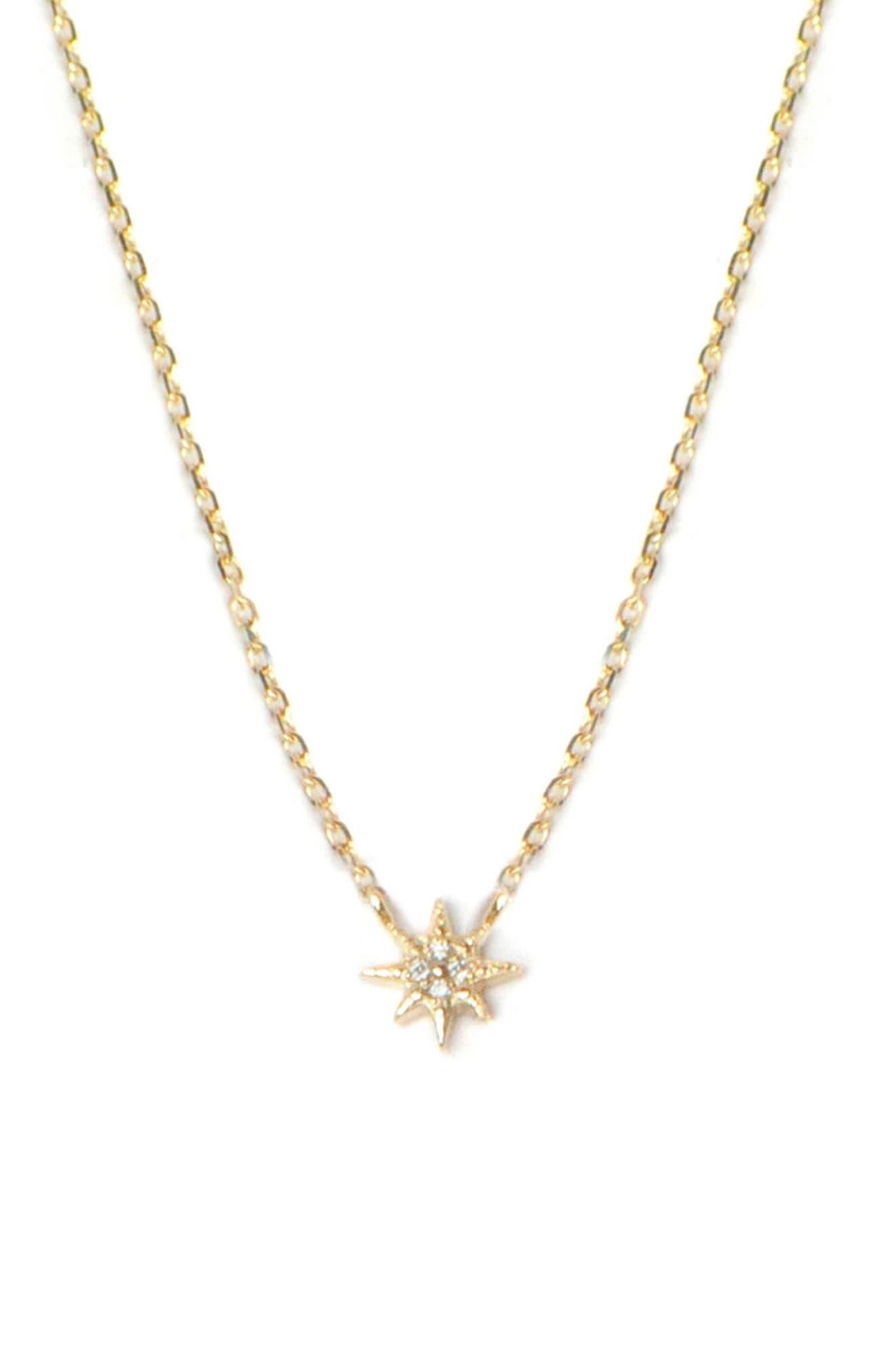 ANZIE, North Star Diamond Pendant, Main thumbnail 1, color, GOLD