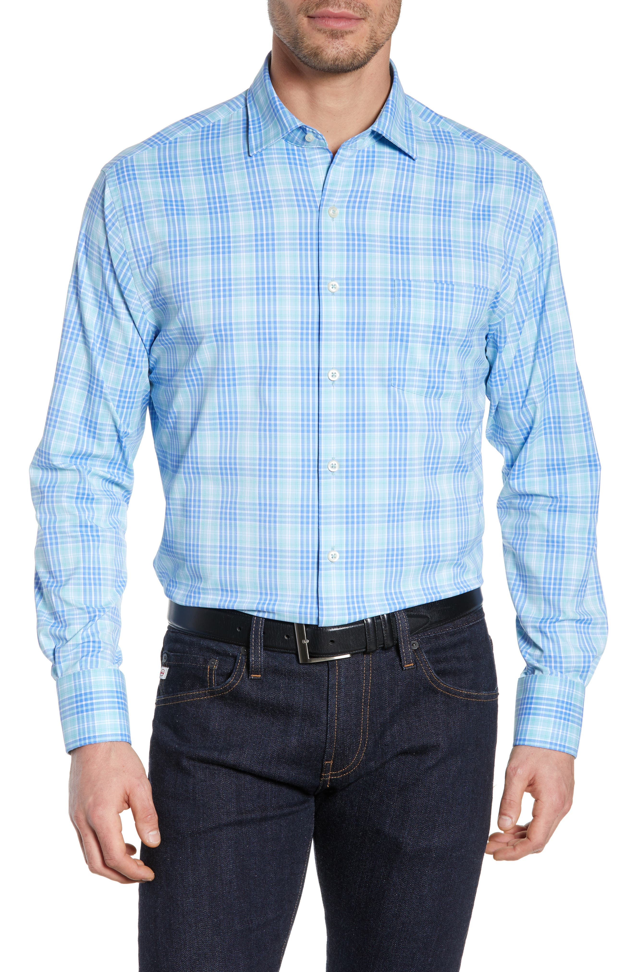 PETER MILLAR Waterson Plaid Performance Sport Shirt, Main, color, OASIS