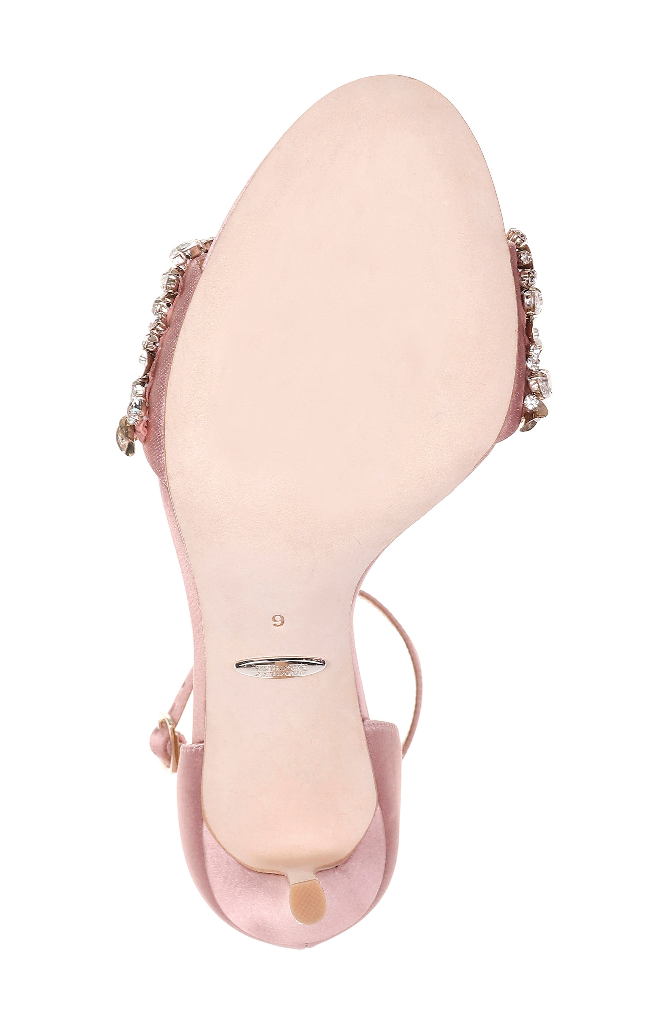 BADGLEY MISCHKA COLLECTION, Badgley Mischka Crystal Embellished Sandal, Alternate thumbnail 6, color, PINK ROSE SATIN