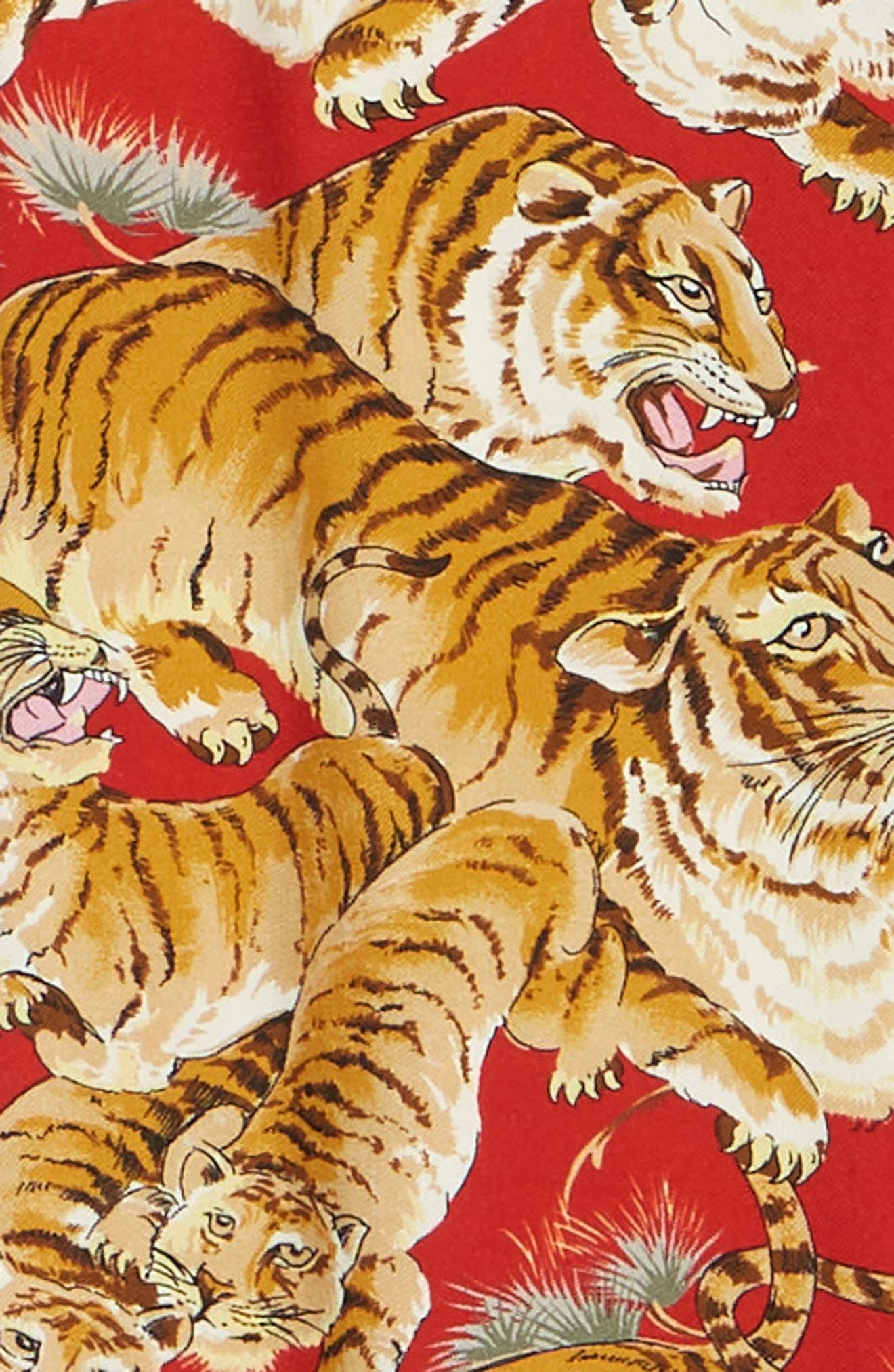 THE KOOPLES, Tiger Print Short Sleeve Camp Shirt, Alternate thumbnail 6, color, 250