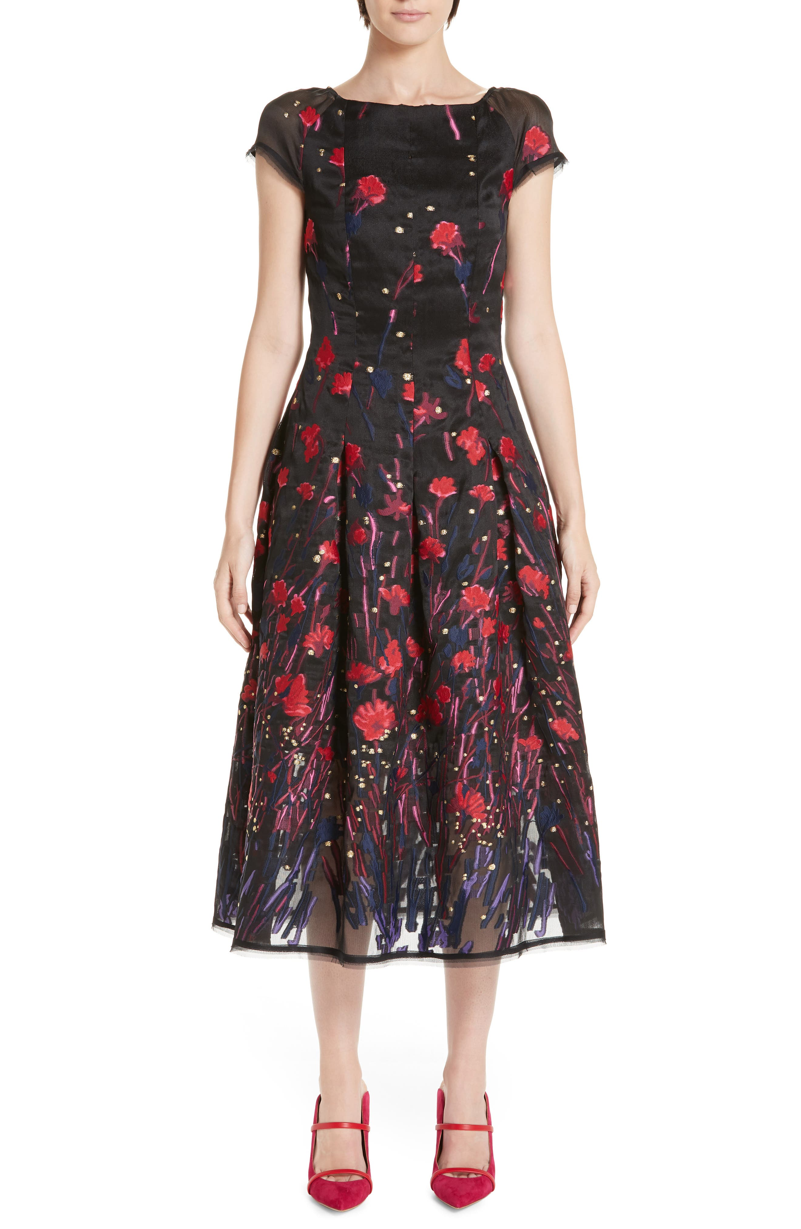 Talbot Runhof Poppy Fil Coupe Tea Length Dress