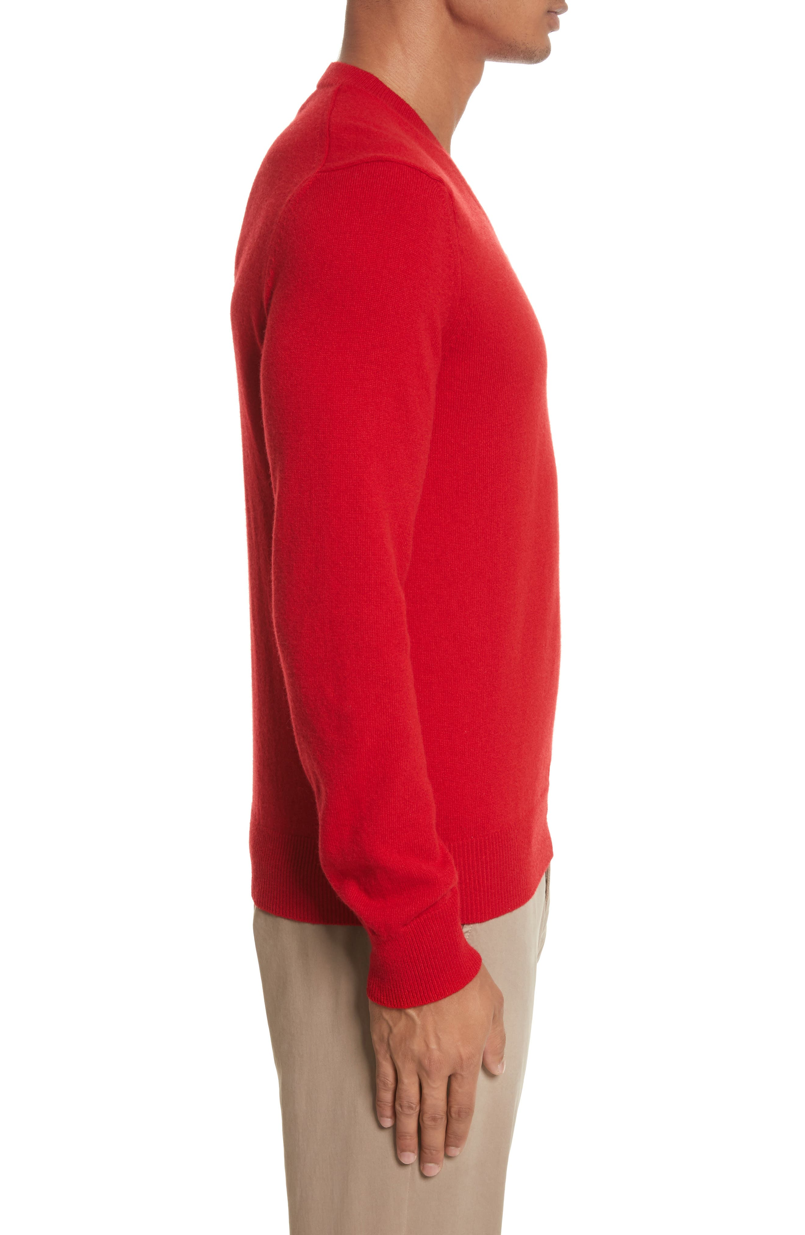 COMME DES GARÇONS PLAY, Wool Pullover, Alternate thumbnail 3, color, RED