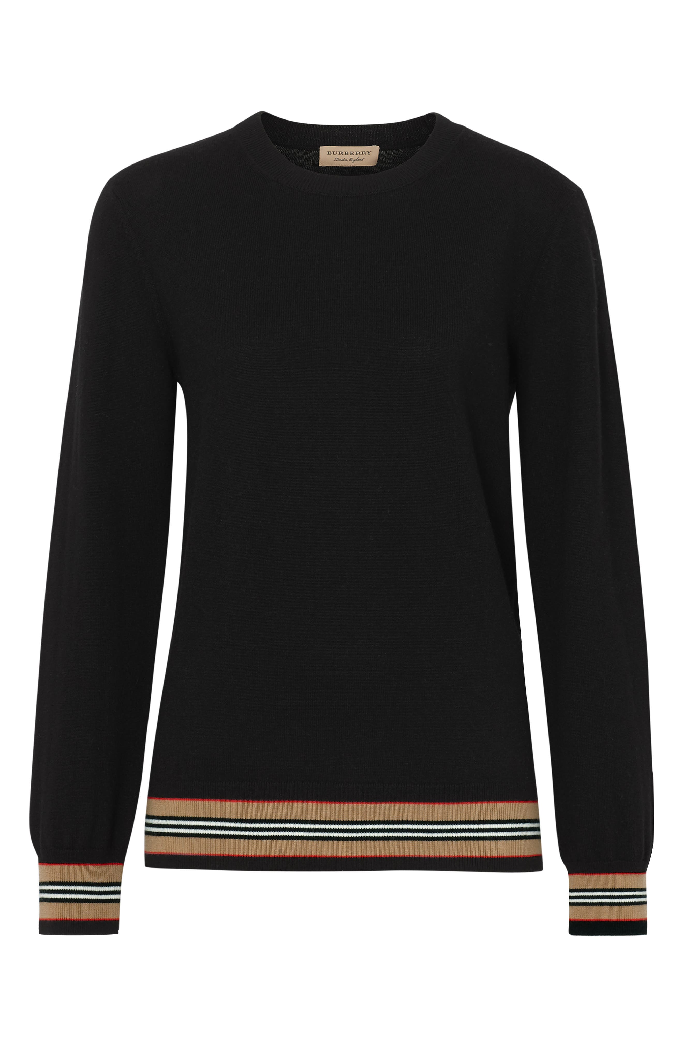 BURBERRY, Stripe Trim Merino Wool Sweater, Alternate thumbnail 4, color, BLACK