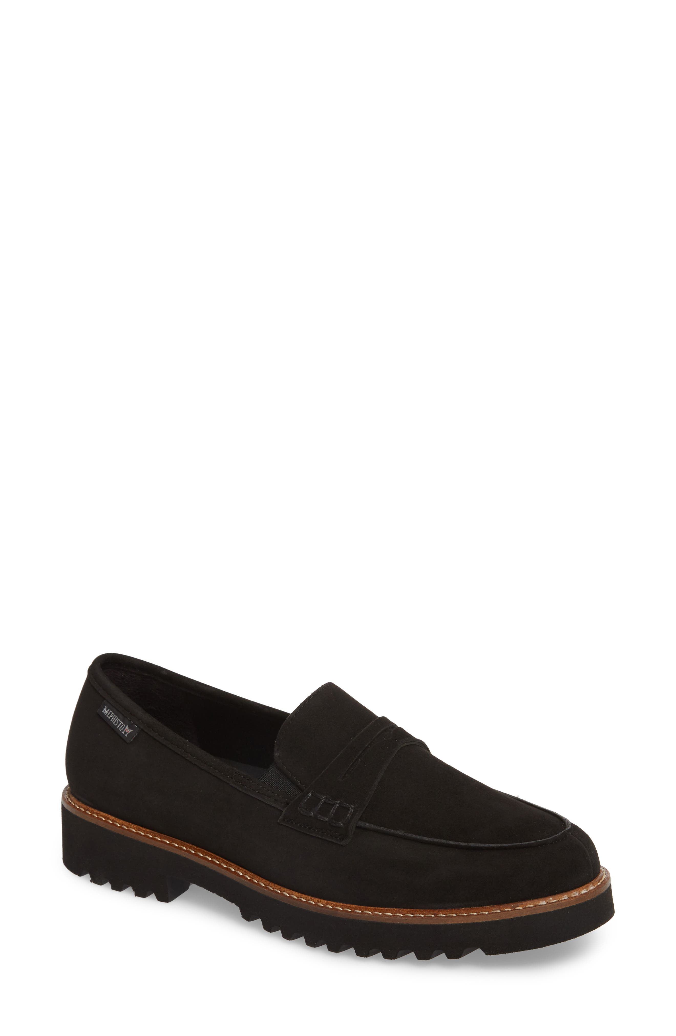 MEPHISTO, Sidney Penny Loafer, Main thumbnail 1, color, BLACK/BLACK SUEDE
