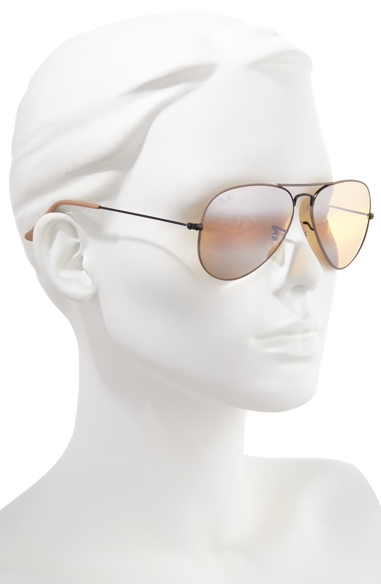 RAY-BAN, Standard Original 58mm Aviator Sunglasses, Alternate thumbnail 2, color, BEIGE/ BLACK MIRROR