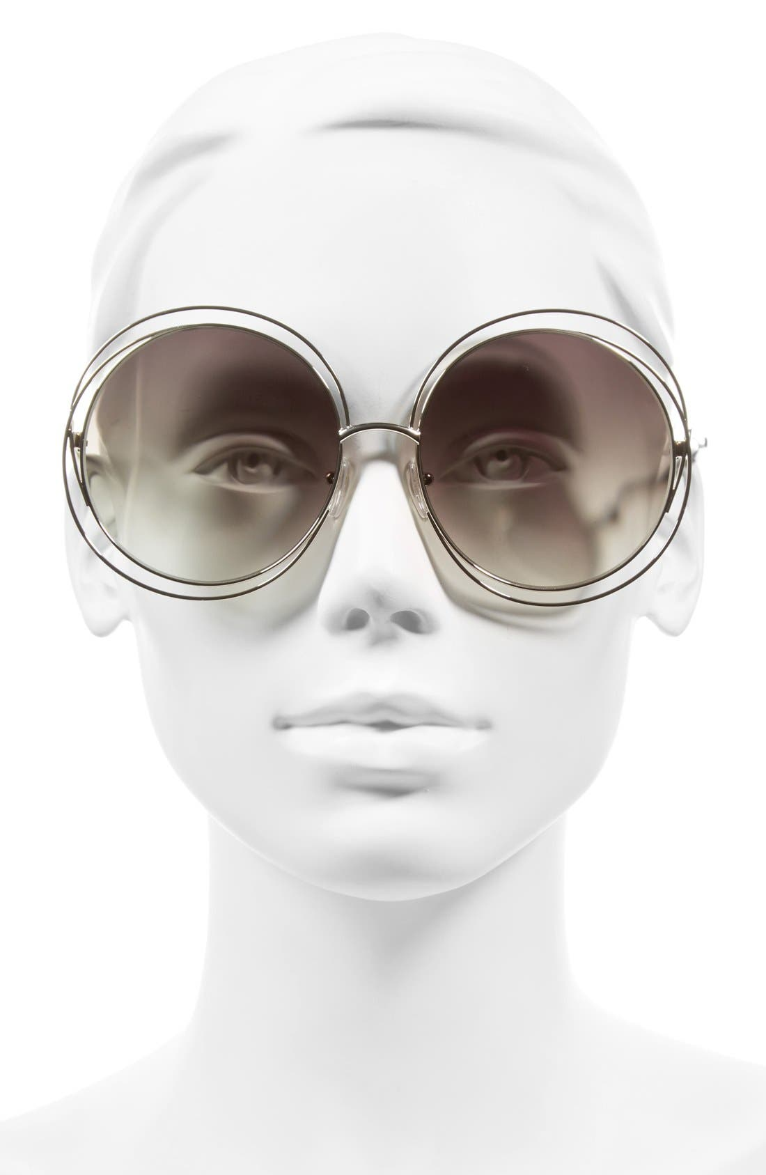 CHLOÉ, 62mm Oversize Sunglasses, Alternate thumbnail 2, color, GOLD/ TRANSPARENT GREEN