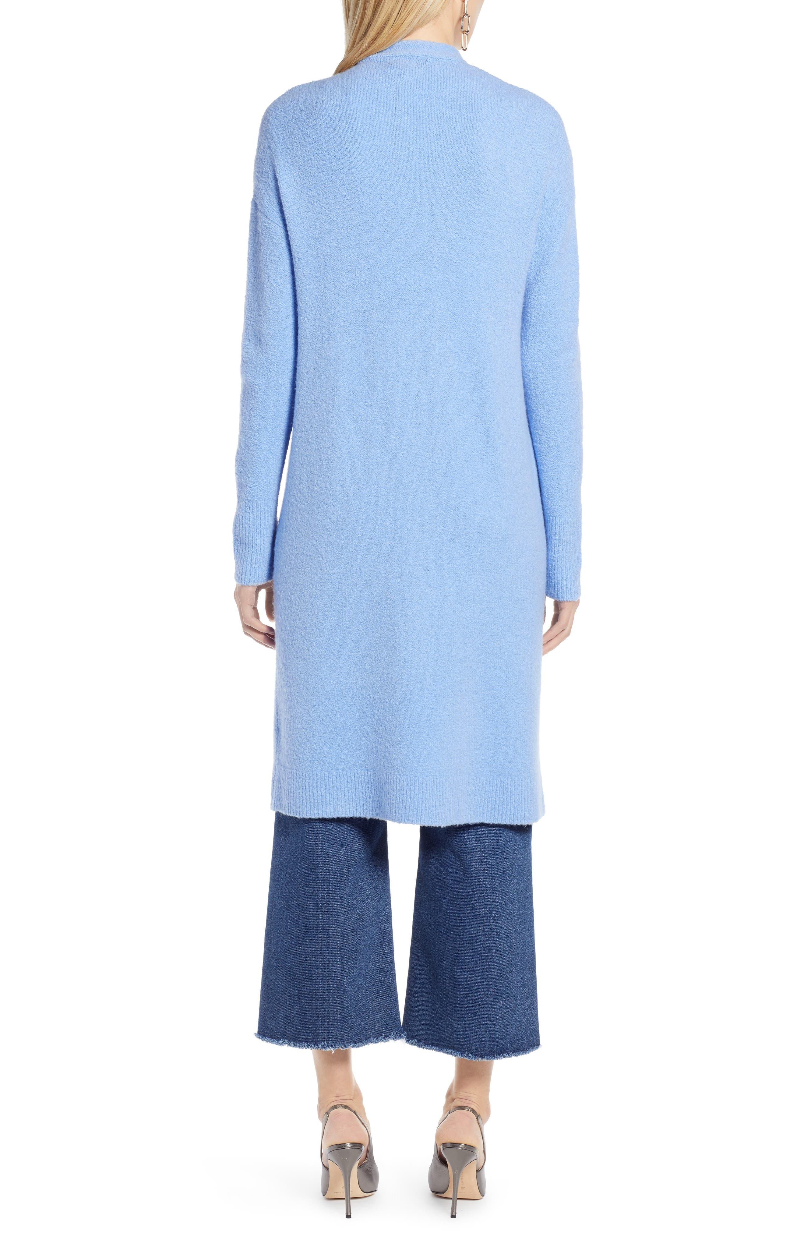 HALOGEN<SUP>®</SUP>, Long Open Front Cardigan, Alternate thumbnail 2, color, BLUE CORNFLOWER