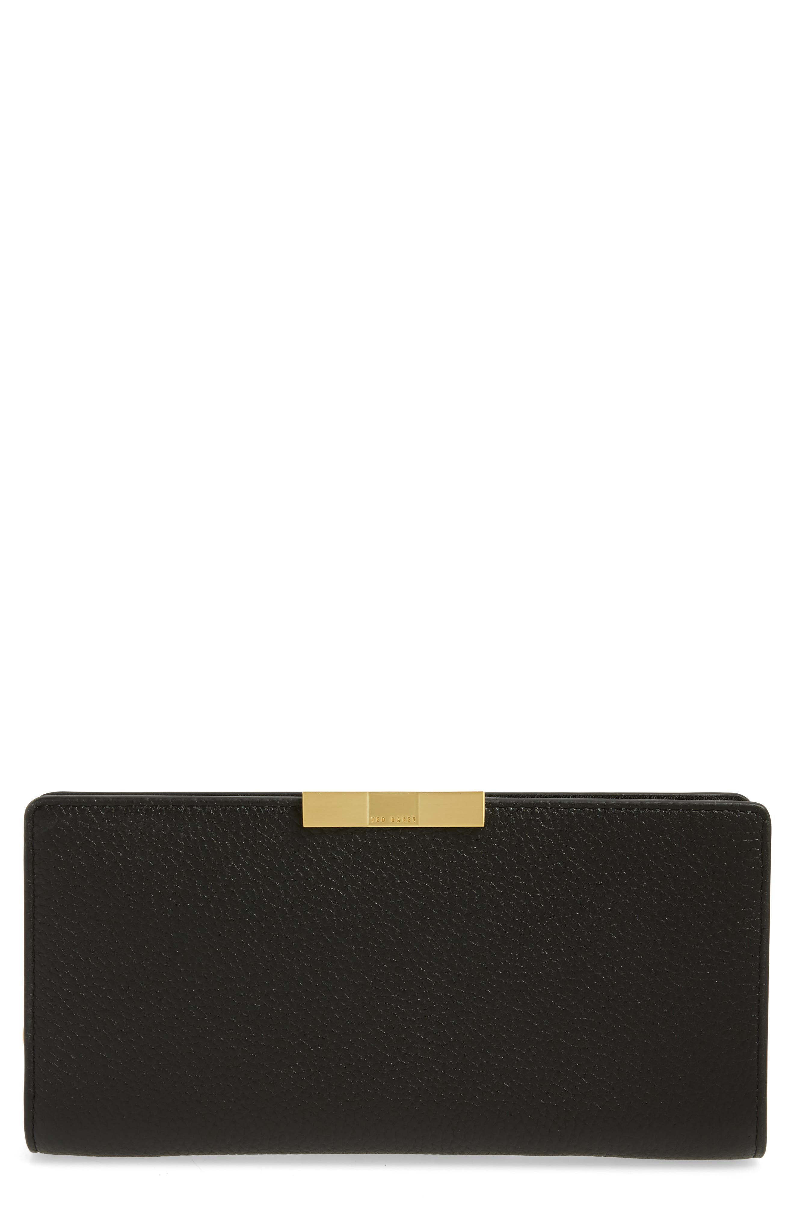 TED BAKER LONDON, Emblyn Leather Matinée Wallet, Main thumbnail 1, color, 001